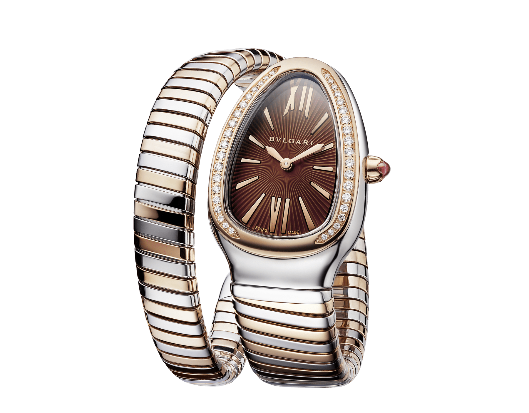 Serpenti Tubogas single spiral watch with stainless steel case, 18 kt rose gold bezel set with brilliant-cut diamonds, brown dial with guilloché soleil treatment, stainless steel and 18 kt rose gold bracelet 103071 image 2