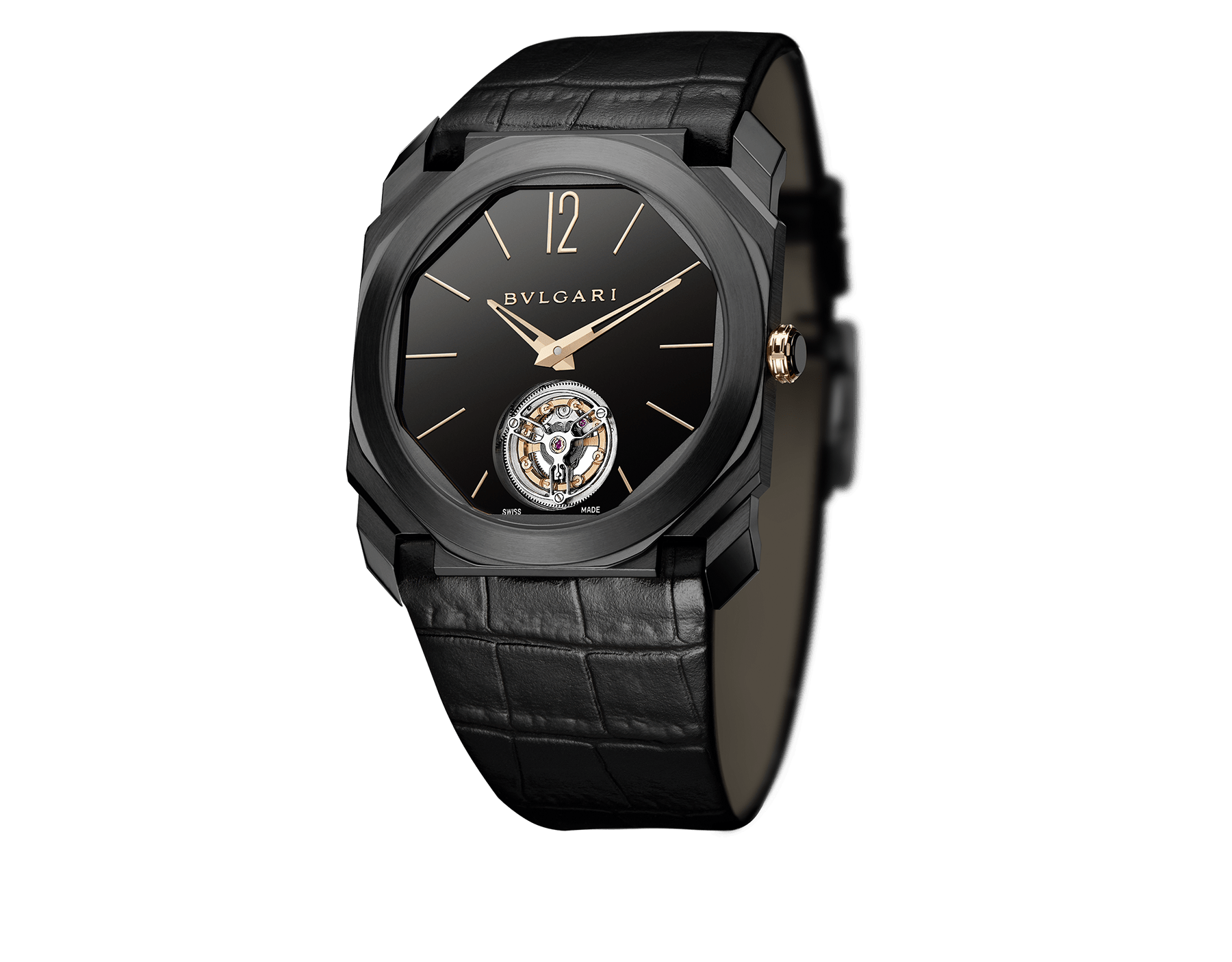 Orologio Octo Finissimo Tourbillon con movimento meccanico di manifattura ultrapiatto a carica manuale con cuscinetti a sfera, cassa in titanio con trattamento DLC (Diamond-Like Carbon), quadrante laccato nero con tourbillon a vista e cinturino in alligatore nero. 102560 image 2