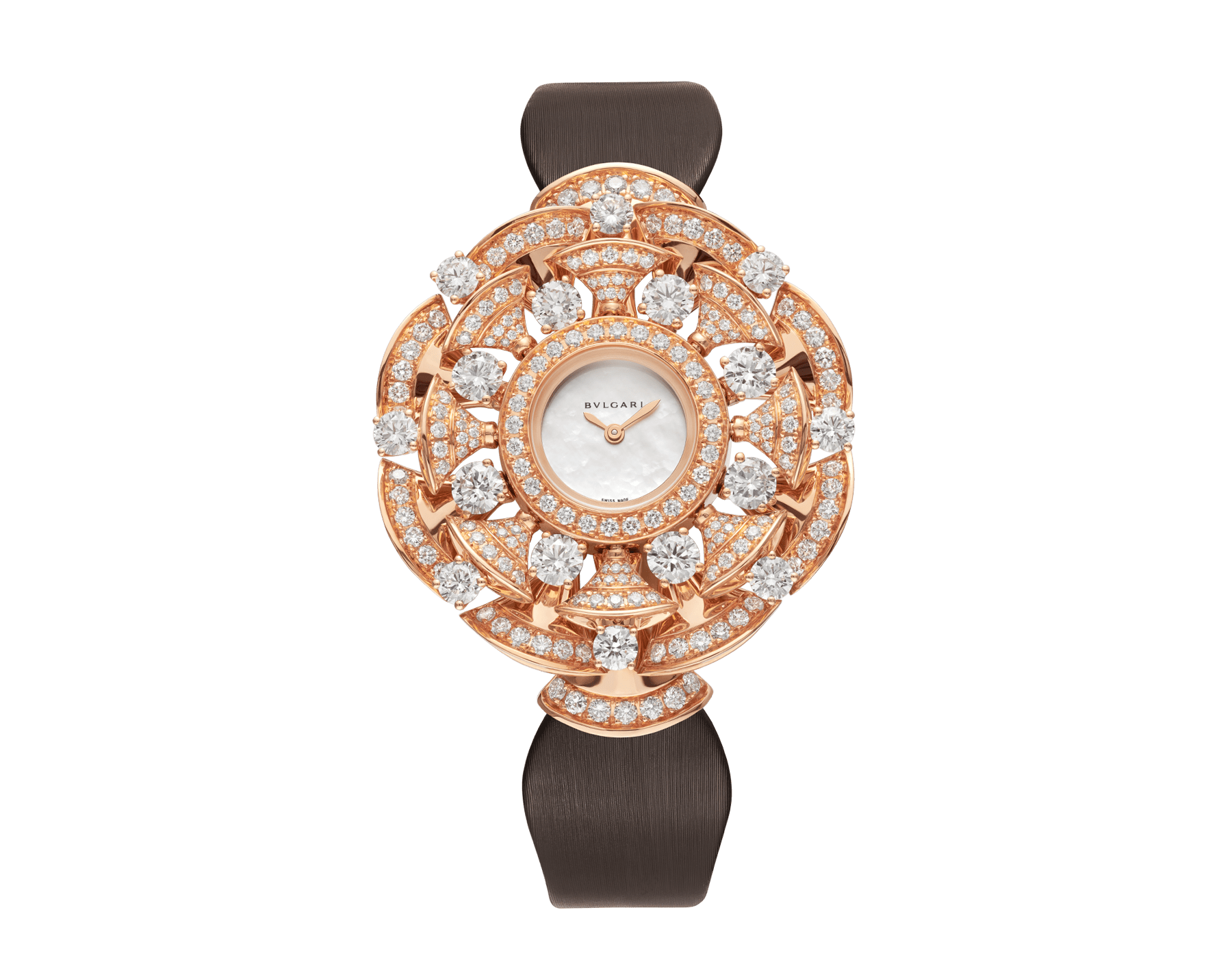 DVAS' DREAM watch with 18 kt rose gold case set with brilliant-cut diamonds, white mother-of-pearl dial and brown satin bracelet 102546 image 1