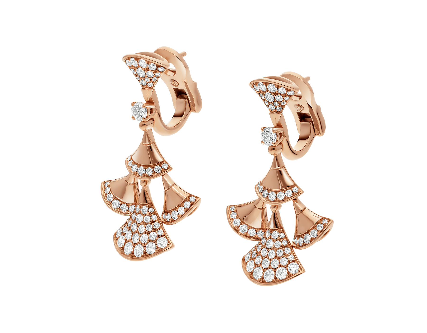 DIVAS' DREAM earrings in 18 kt rose gold set with a diamond and pavé diamonds. 352810 image 2