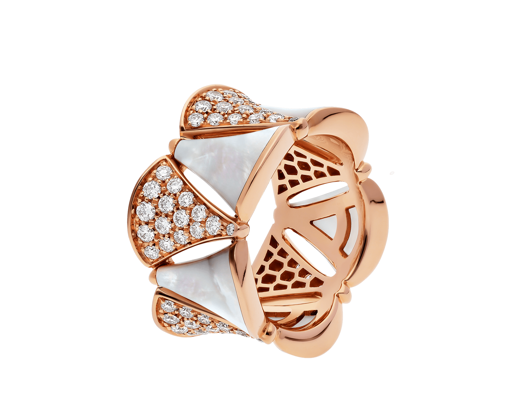 DIVAS' DREAM ring in 18 kt rose gold, set with mother-of-pearl elements and pavé diamonds. AN856775 image 1