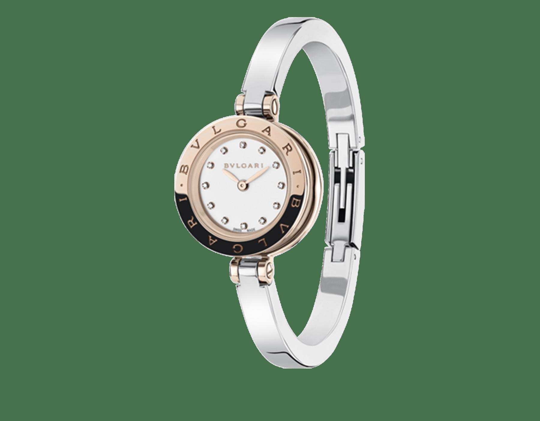 B.zero1 腕錶,精鋼和 18K 玫瑰金錶殼,精鋼錶帶,白色漆面錶盤,鑽石時標。M 尺寸。 102320 image 1