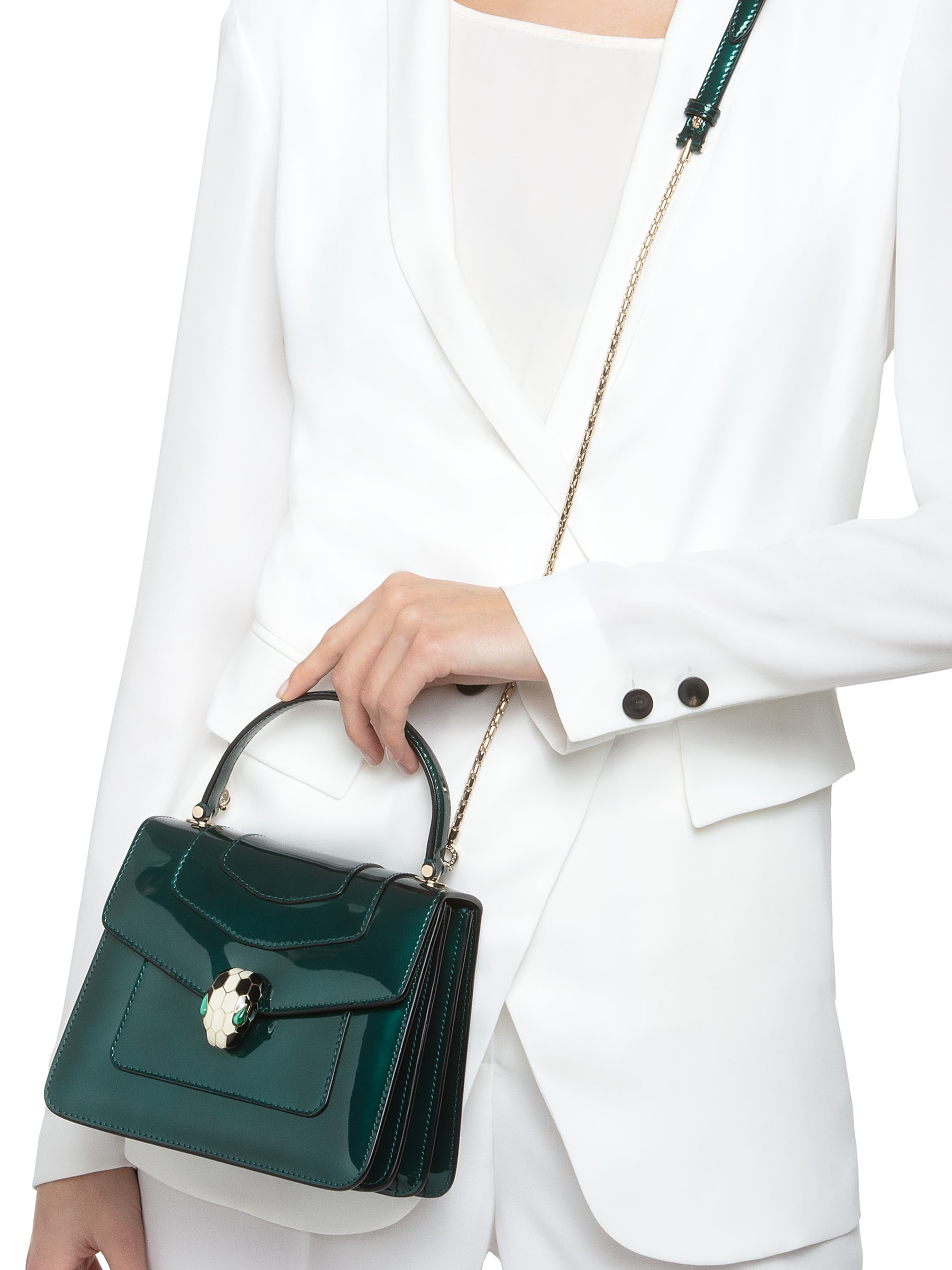 Flap cover bag Serpenti Forever in forest emerald brushed metallic calf leather. Brass light gold plated hardware and snake head closure in black and white enamel with eyes in green malachite. 752-BMCLb image 3