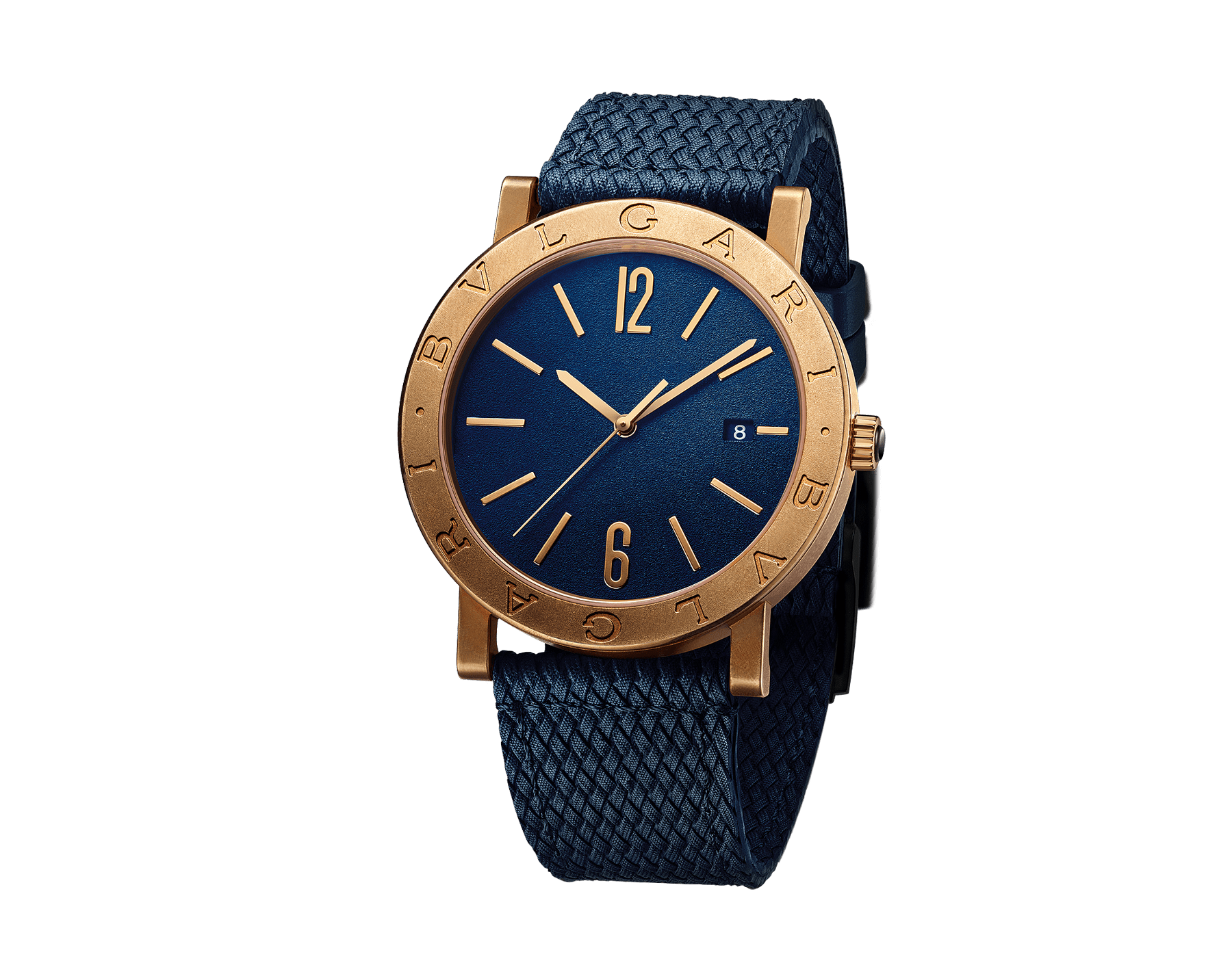 BVLGARI BVLGARI watch with mechanical manufacture movement, automatic winding and date, bronze case with double logo engraving on the bezel, blue dial and a blue rubber bracelet. 103132 image 1