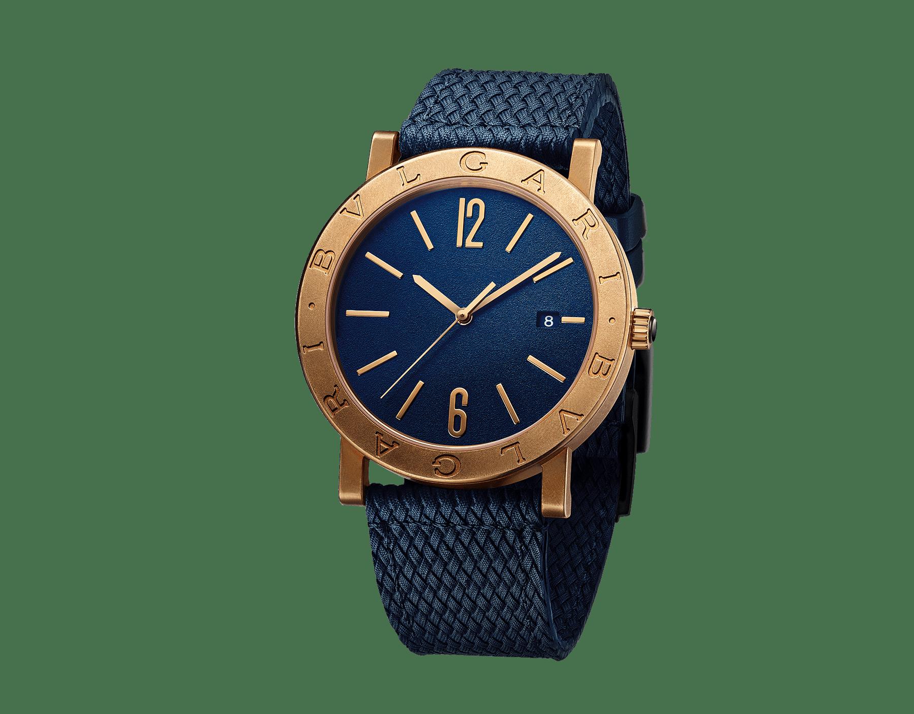 BVLGARI BVLGARI Uhr mit mechanischem Manufakturwerk, Automatikaufzug und Datumsanzeige, Gehäuse aus Bronze mit Doppellogo auf der Lünette, blauem Zifferblatt und blauem Kautschukarmband. 103132 image 1