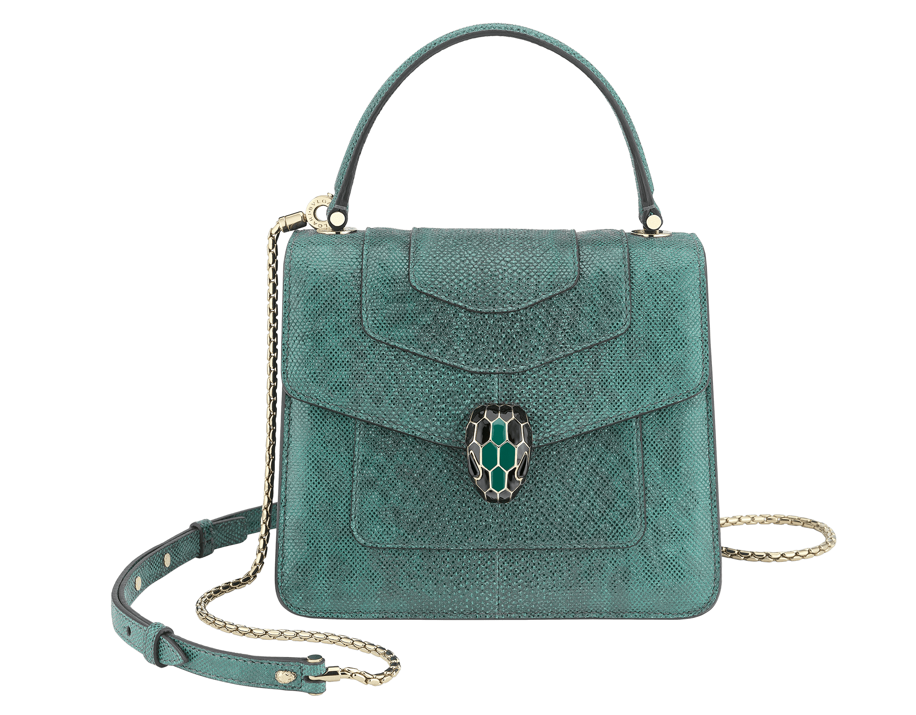 Serpenti Forever crossbody bag in forest emerald metallic karung skin. Snakehead closure in light gold plated brass decorated with shiny black and glitter forest emerald, and black onyx eyes. Special Edition 752-MK image 1