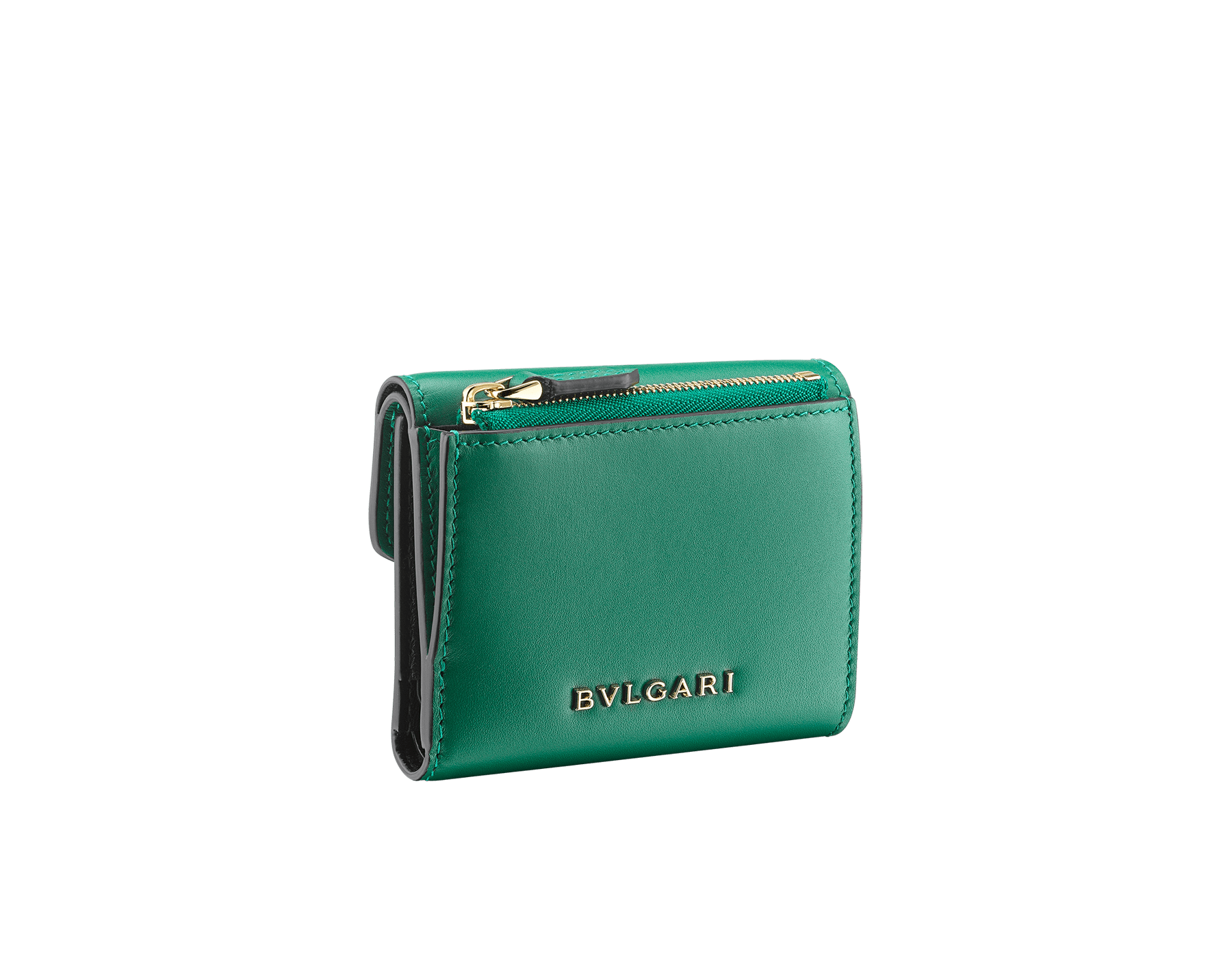 Serpenti Forever compact wallet in daisy topaz calf leather and white agate goatskin. Iconic light gold plated brass snake head stud closure in white agate and daisy topaz enamel, with black onyx eyes. SEA-SLIMCOMPACT-CLa image 6