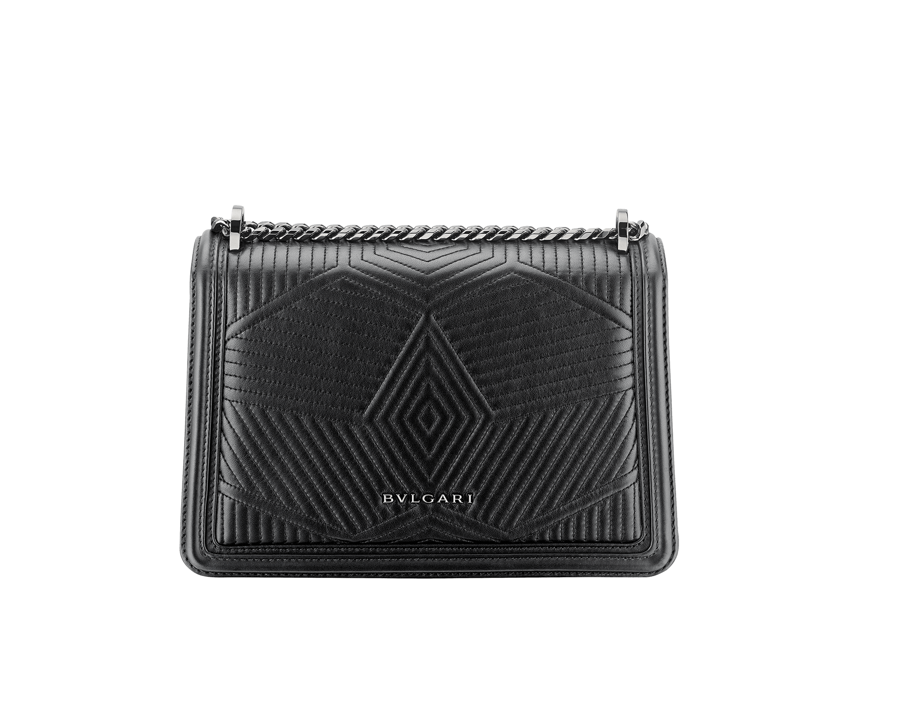 """Serpenti Diamond Blast"" shoulder bag in black quilted nappa leather body and black calf leather frames. Iconic snakehead closure in dark ruthenium plated brass enriched with black and white enamel and black onyx eyes. 287371 image 4"
