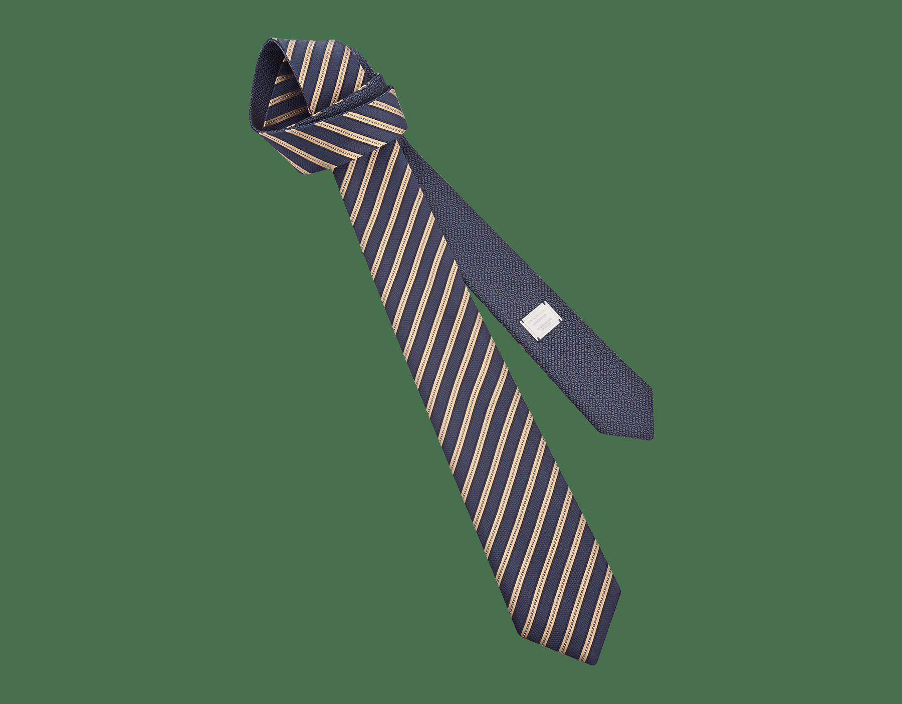 Navy Double Logo Lane pattern tie in fine silk. 242587 image 1
