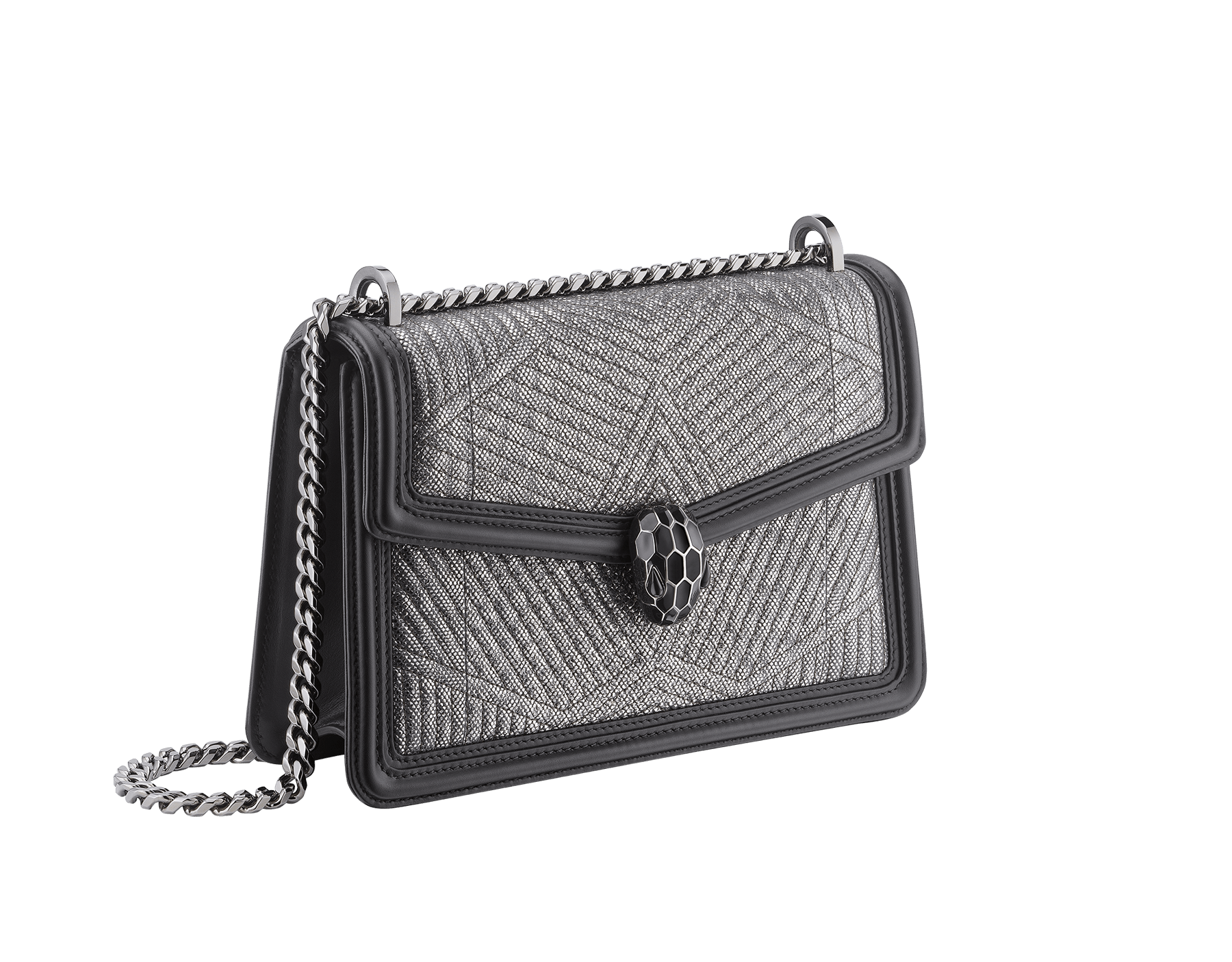 """Serpenti Diamond Blast"" shoulder bag in white agate quilted metallic karung skin and white agate calf leather frames. Iconic snakehead closure in light gold plated brass enriched with black and white agate enamel and black onyx eyes. 922-MK image 2"