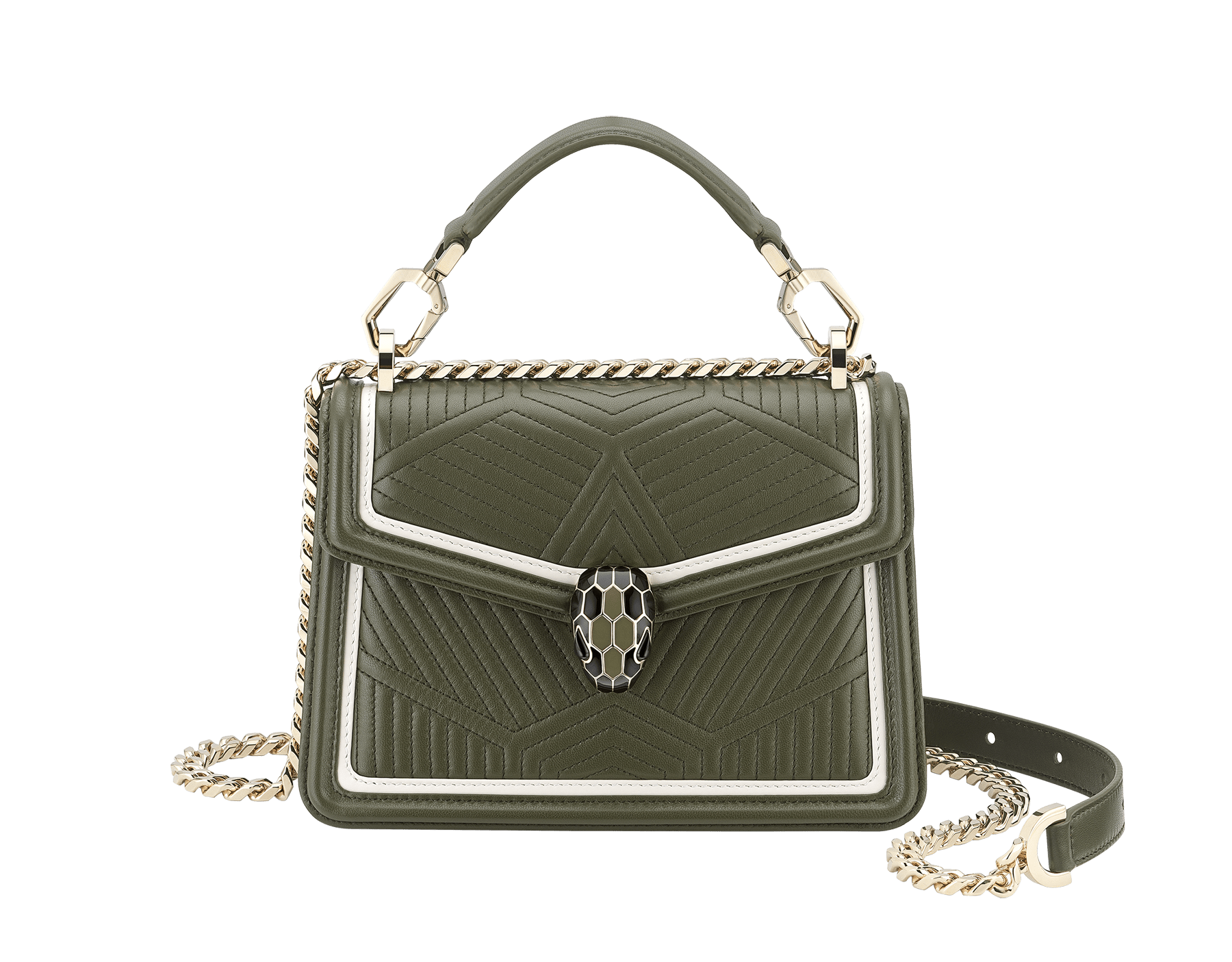 """Serpenti Diamond Blast"" top handle bag in mimetic jade quilted nappa leather and mimetic jade smooth calf leather frames. Iconic snakehead closure in light gold plated brass enriched with matte black and shiny mimetic jade enamel and black onyx eyes. 1063-FQD image 1"