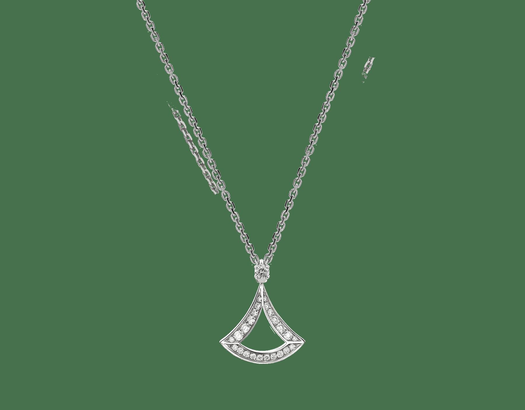 Collar calado DIVAS' DREAM en oro blanco de 18qt con colgante en oro blanco de 18qt con pavé de diamantes. 354046 image 1