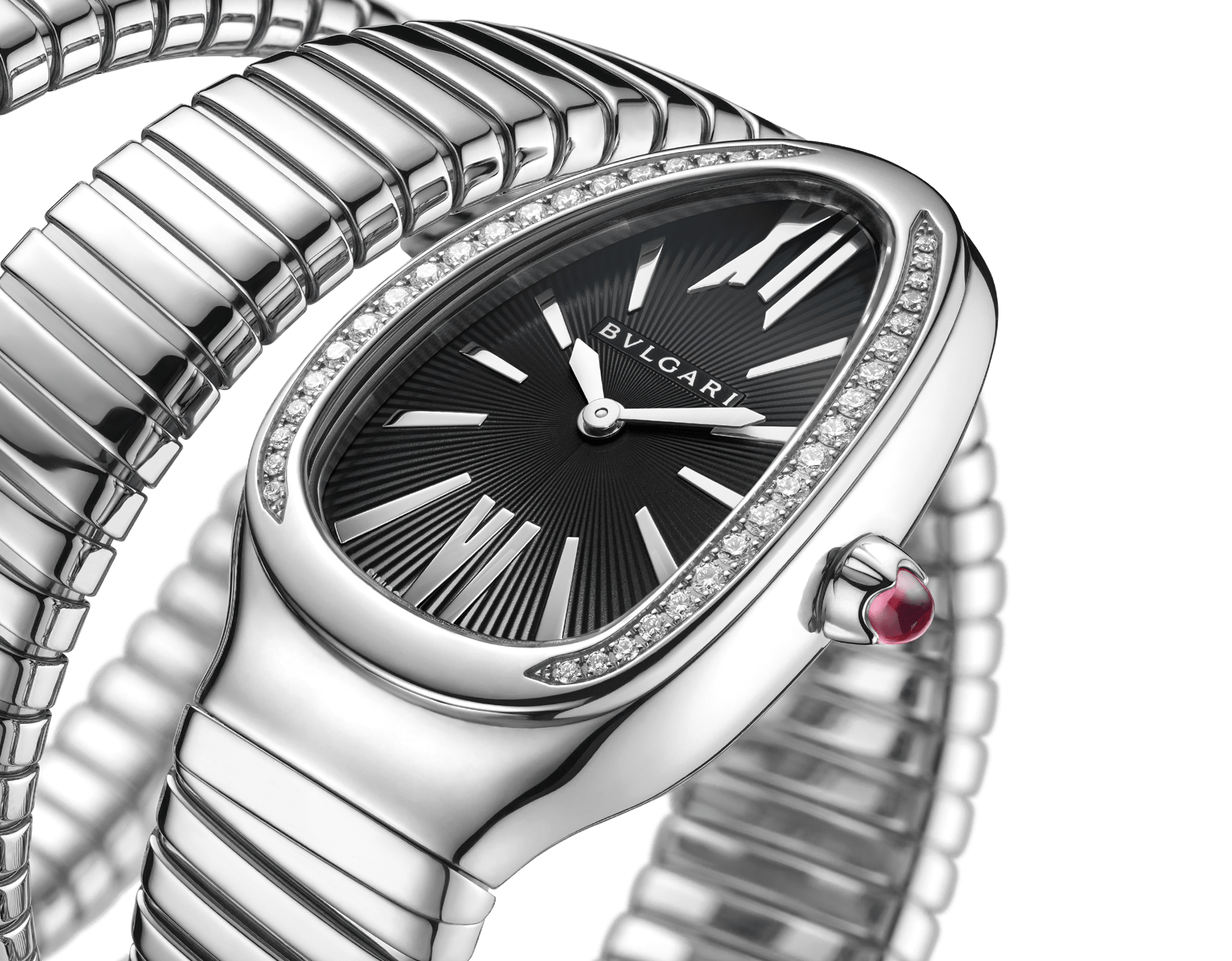Serpenti Tubogas double spiral watch with stainless steel case and bracelet, bezel set with brilliant-cut diamonds and black dial with guilloché soleil treatment. Water-resistant up to 30 meters. Large size 103433 image 2