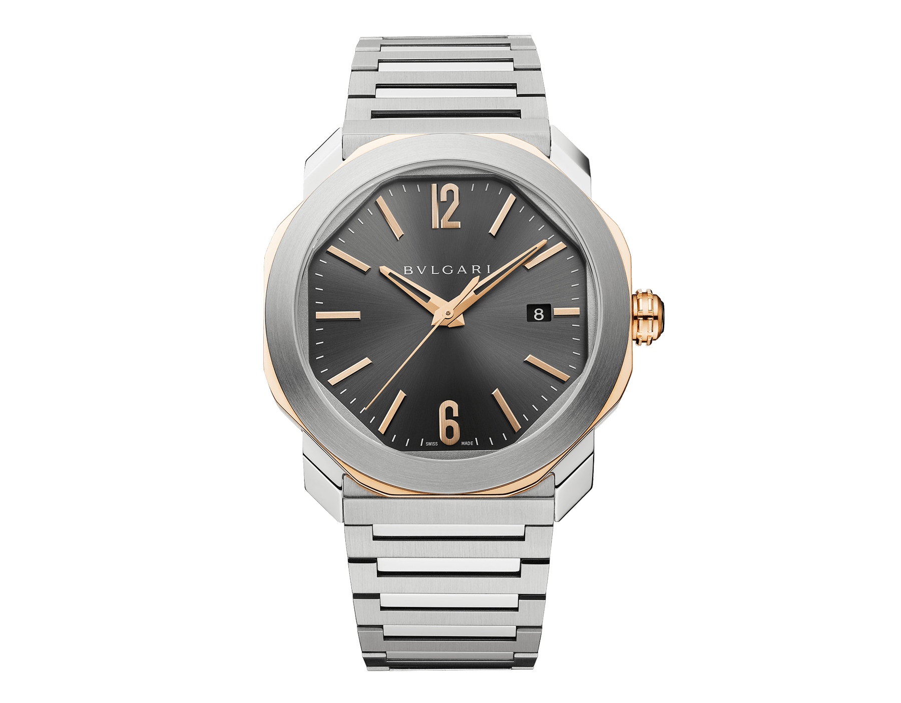 Octo Roma watch with mechanical manufacture movement, automatic winding and date, stainless steel case, 18 kt rose gold octagon, transparent case back, anthracite dial and stainless steel bracelet 103083 image 1