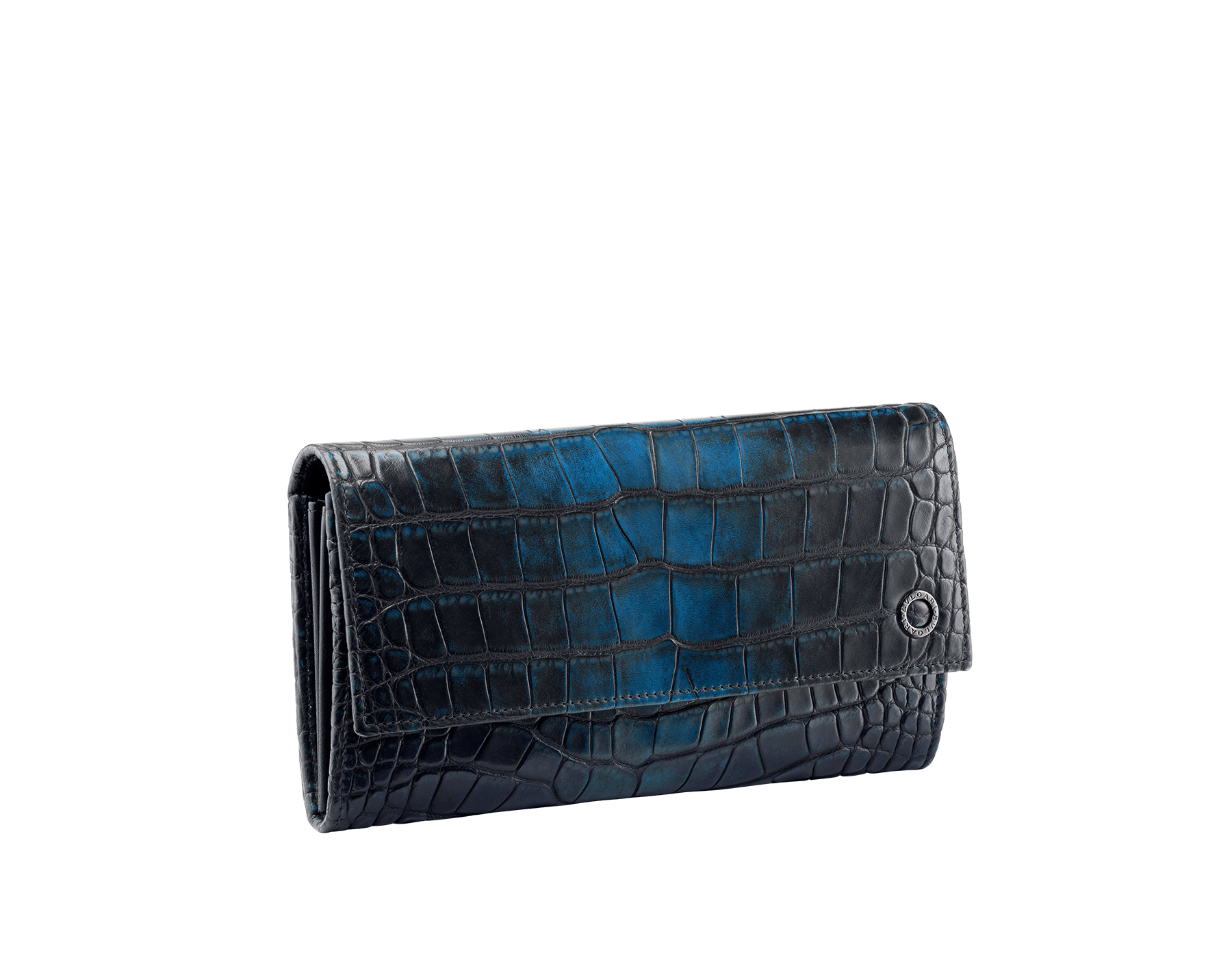 Man wallet pochette in Jungle green alligator skin and black smooth calf leather, with brass dark ruthenium plated hardware featuring the Bulgari-Bulgari motif. BBM-WLT-POC-10C-HE image 1