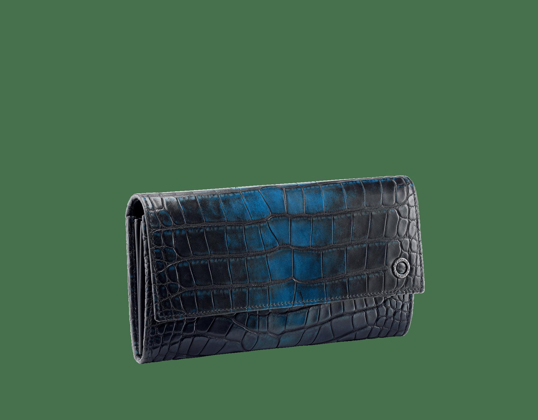 叢林綠鱷魚皮及黑色光滑小牛皮男用手挽皮夾,Bulgari-Bulgari 深色鍍釕黃銅配飾。 BBM-WLT-POC-10C-HE image 1