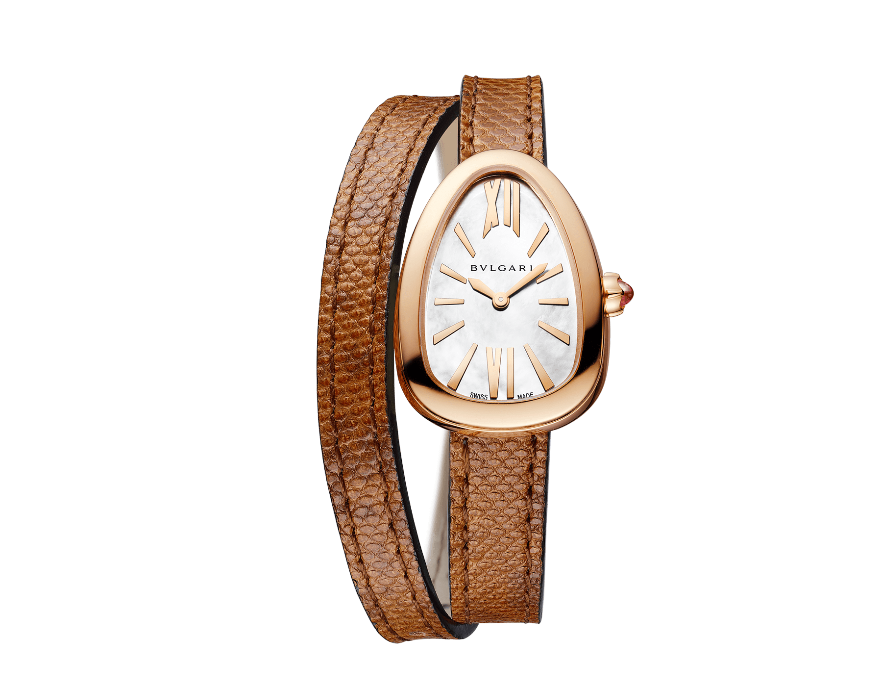 Serpenti Uhr mit Gehäuse aus 18Karat Roségold, weißem Perlmuttzifferblatt und austauschbarem doppelt geschwungenem Armband aus braunem Karungleder 102919 image 1