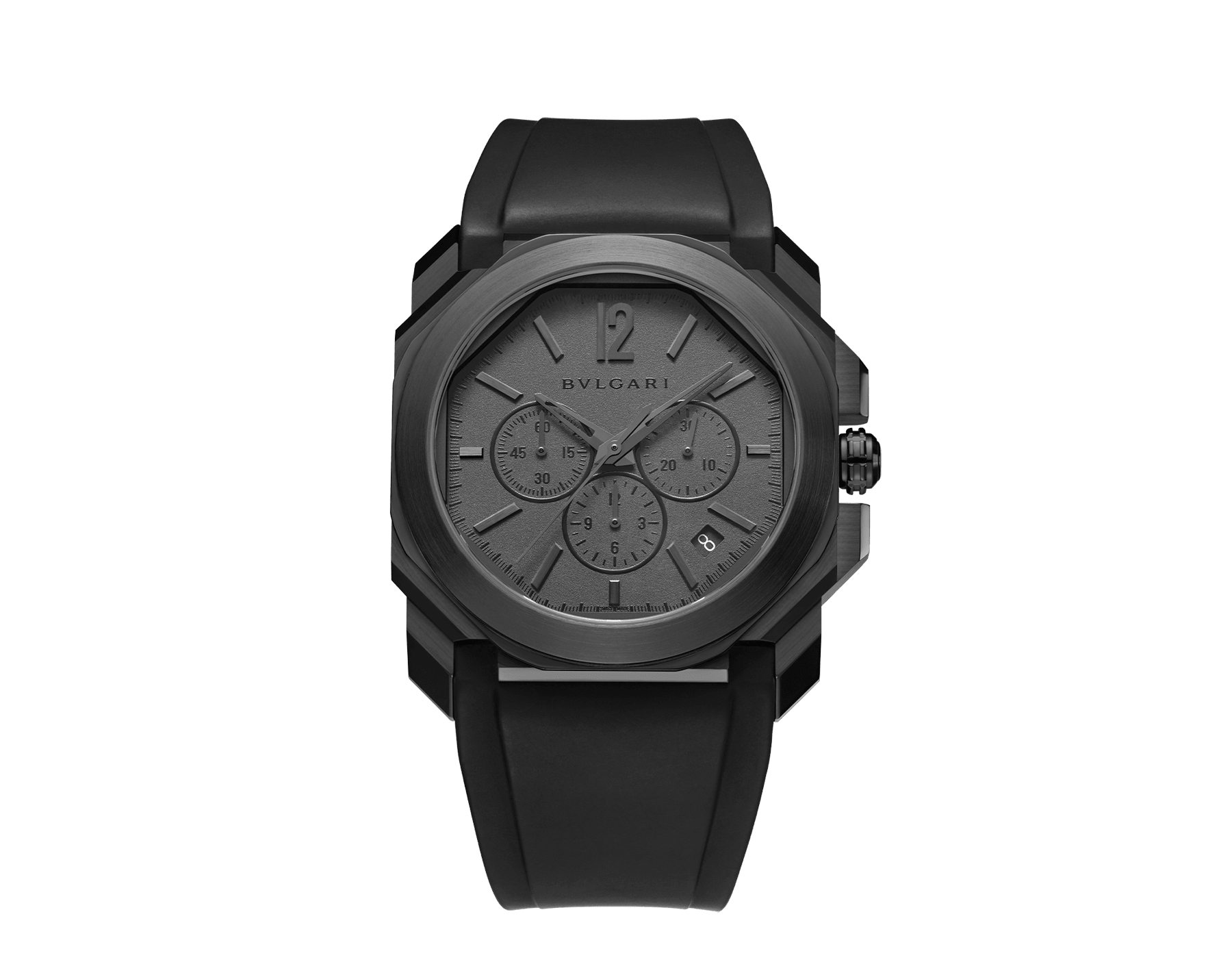 Octo L'Originale watch with mechanical manufacture movement, integrated high-frequency chronograph (5Hz), column wheel mechanism, silicon escapement, automatic winding and date, stainless steel case treated with black Diamond Like Carbon, grey dial and black rubber bracelet 103027 image 1