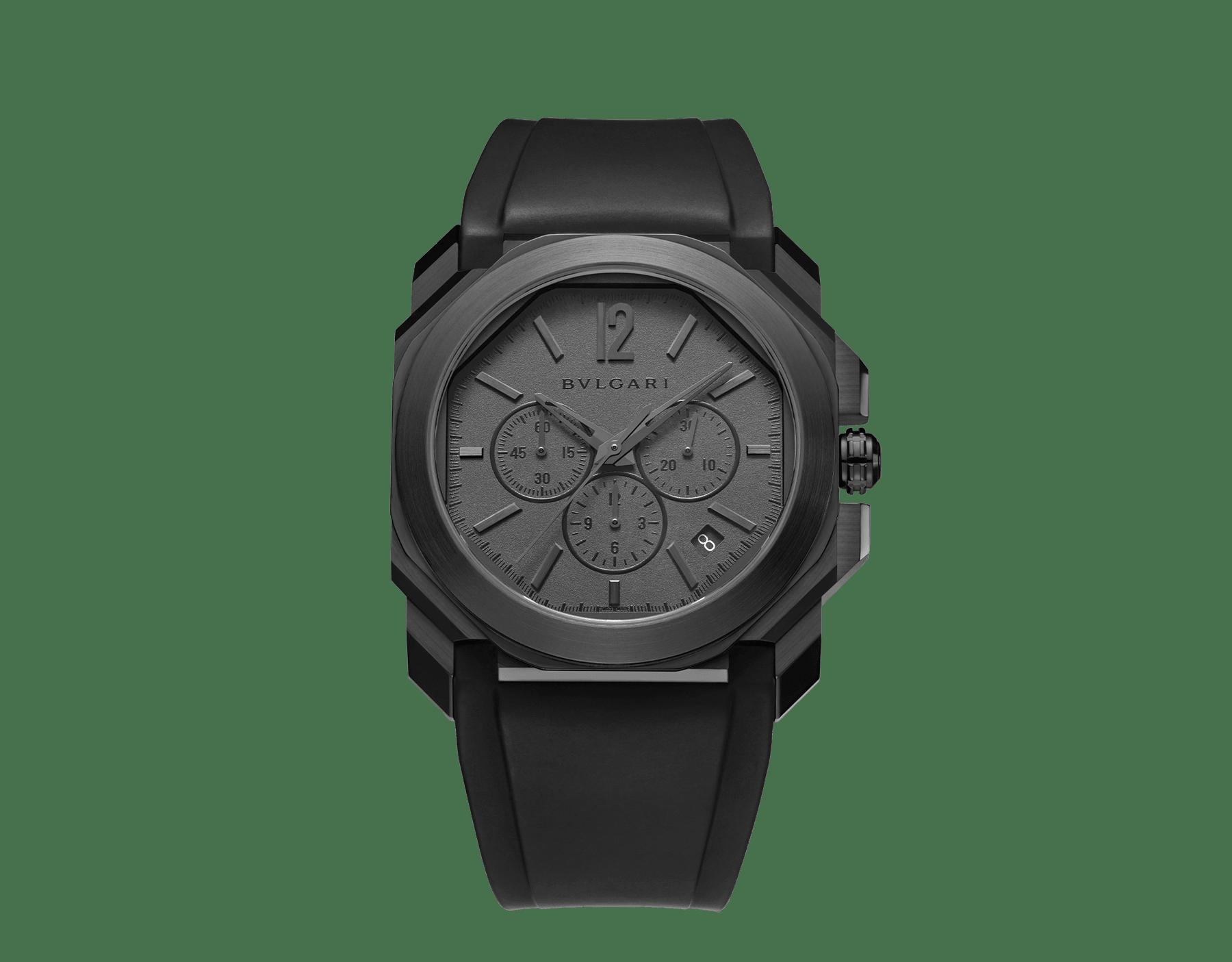 Octo L'Originale Uhr mit mechanischem Manufakturwerk, integriertem Hochfrequenz-Chronographen (5Hz), Säulenradmechanismus, Silizium-Hemmung, Automatikaufzug und Datumsanzeige, Gehäuse aus Edelstahl mit schwarzer DLC (Diamond Like Carbon)-Beschichtung, grauem Zifferblatt und schwarzem Kautschukarmband 103027 image 1