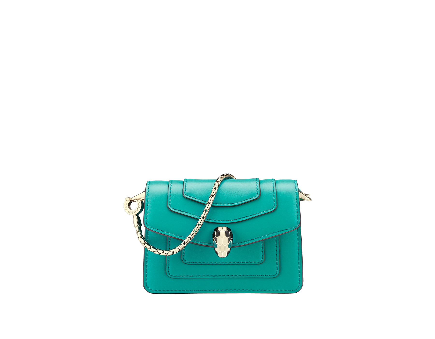 Bag charm Serpenti Forever miniature in tropical tourquoise calf leather, with deep jade calf leather lining. Iconic brass light gold plated snakehead stud closure enameled in black and white and finished with green enamel eyes. 288371 image 1