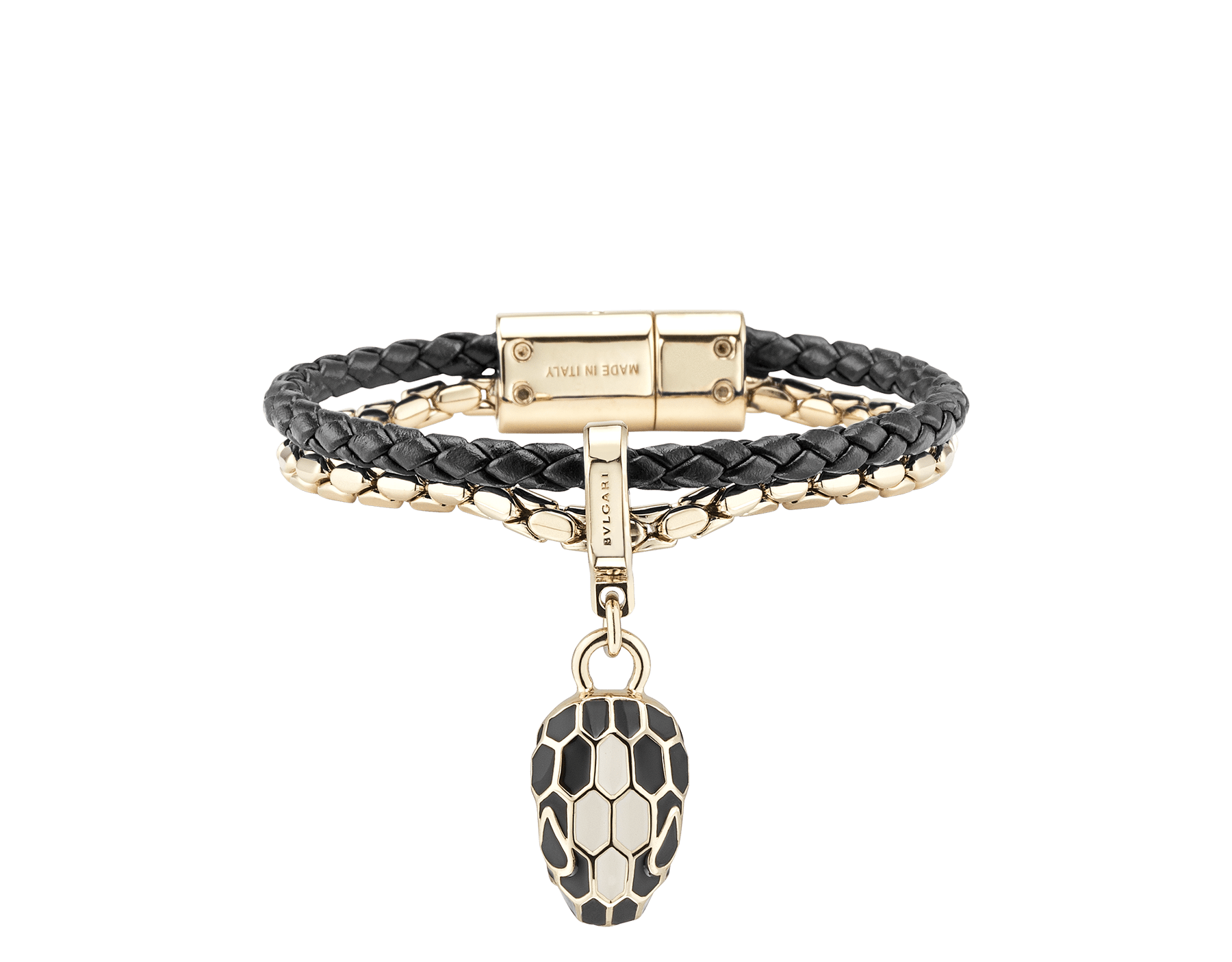 """Serpenti Forever"" bracelet in black braided calf leather and light gold plated brass snake body-shaped chain the iconic snakehead charm in black and white agate enamel and black enamel eyes with a magnetic clasp closure. SerpBraidChain-WCL-B image 1"