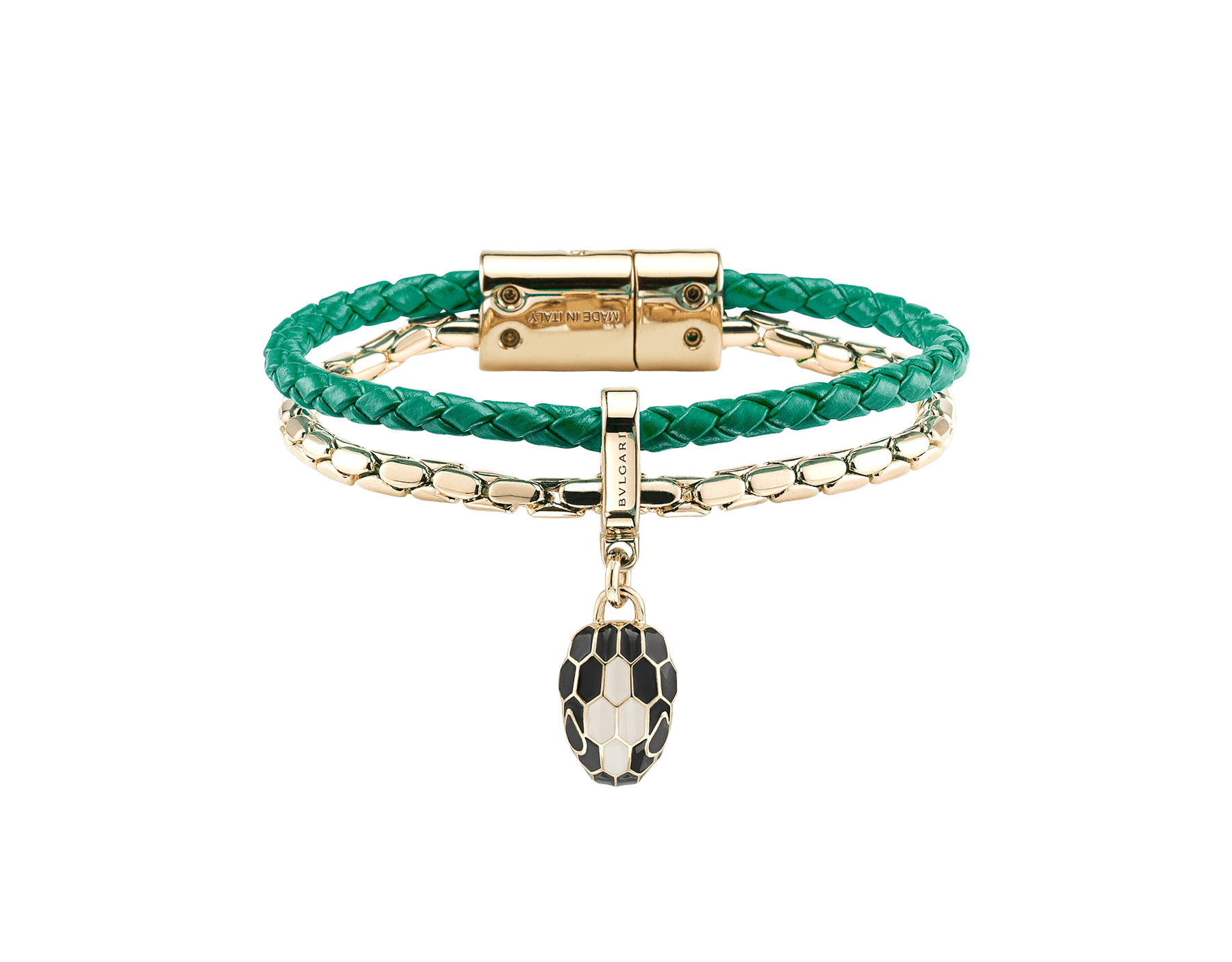 """""""Serpenti Forever"""" bracelet in braided, emerald-green calfskin with snake body-shaped chain in light gold-plated brass, iconic snakehead charm in black and agate-white enamel, black enamel eyes and magnetic clasp fastening. SerpBraidChain-WCL-EG image 2"""