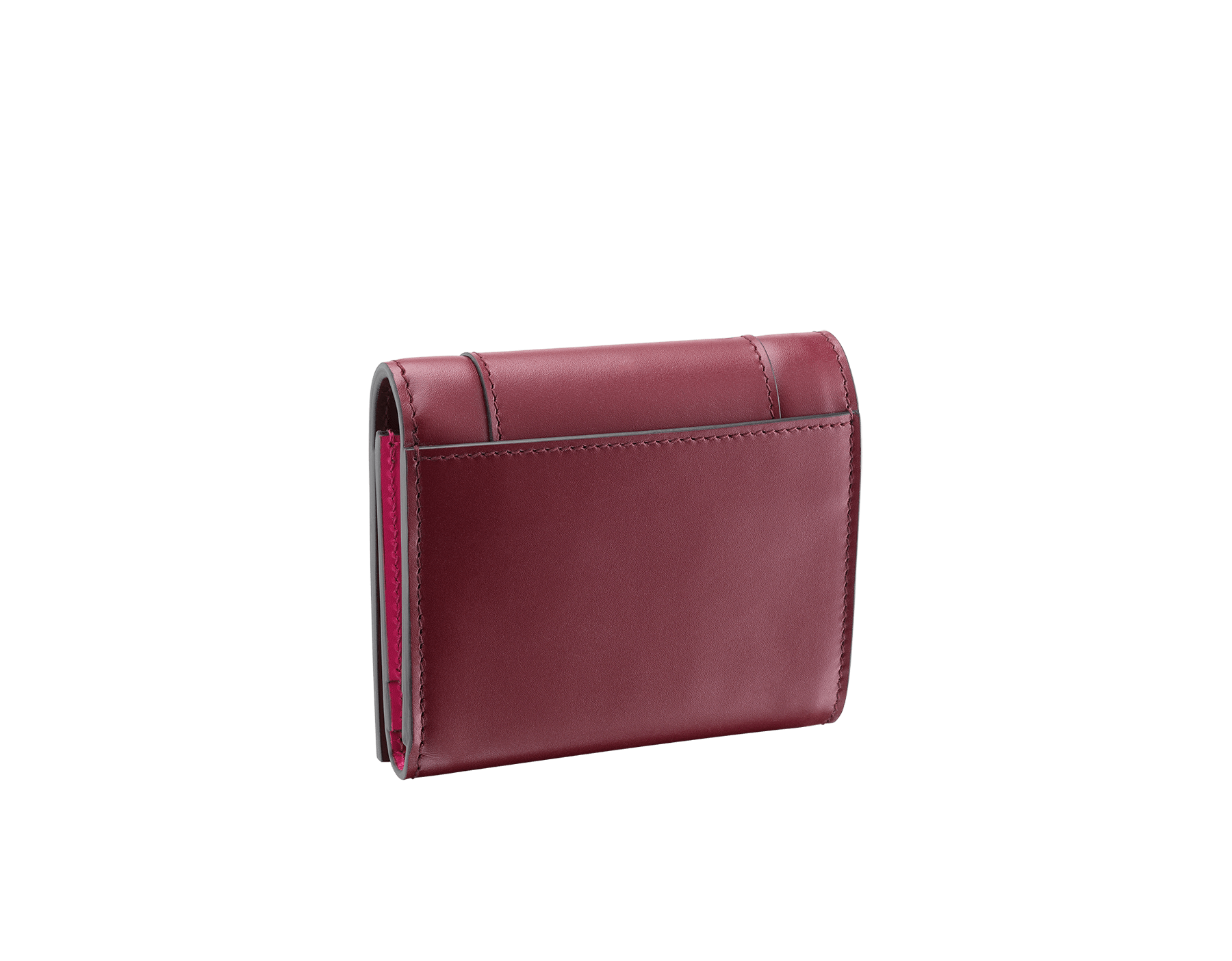 Serpenti Forever super compact wallet in roman garnet and pink spinel calf leather. Iconic snakehead zip puller in black and white enamel, with green malachite enamel eyes. 288036 image 3