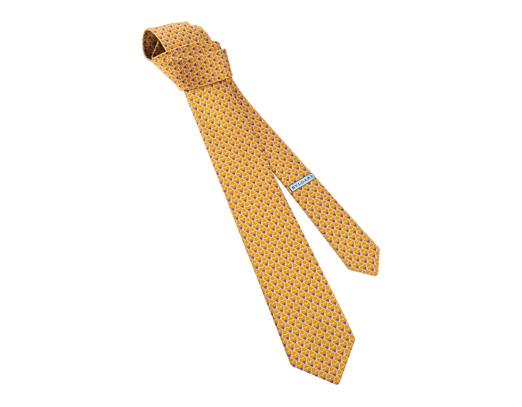 マンダリンオレンジのディーヴァ ハート セブンフォールドネクタイ。上質なジャカードシルク製。 244404 image 1