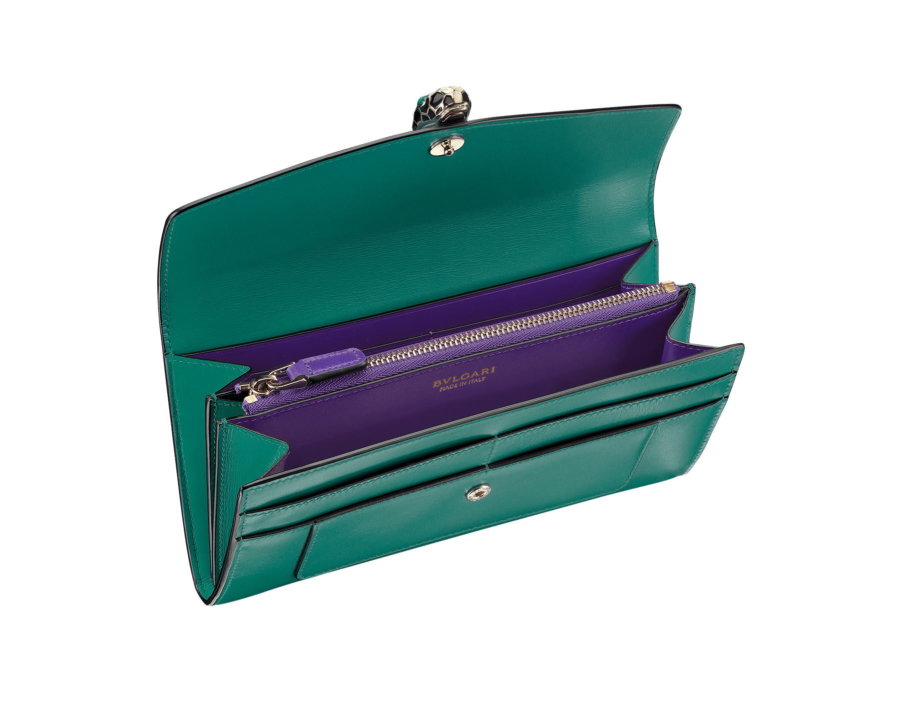 Wallet pochette in emerald green and violet amethyst calf leather with brass light gold plated hardware.Serpenti head stud closure in black and white enamel with eyes in green malachite. 280354 image 2