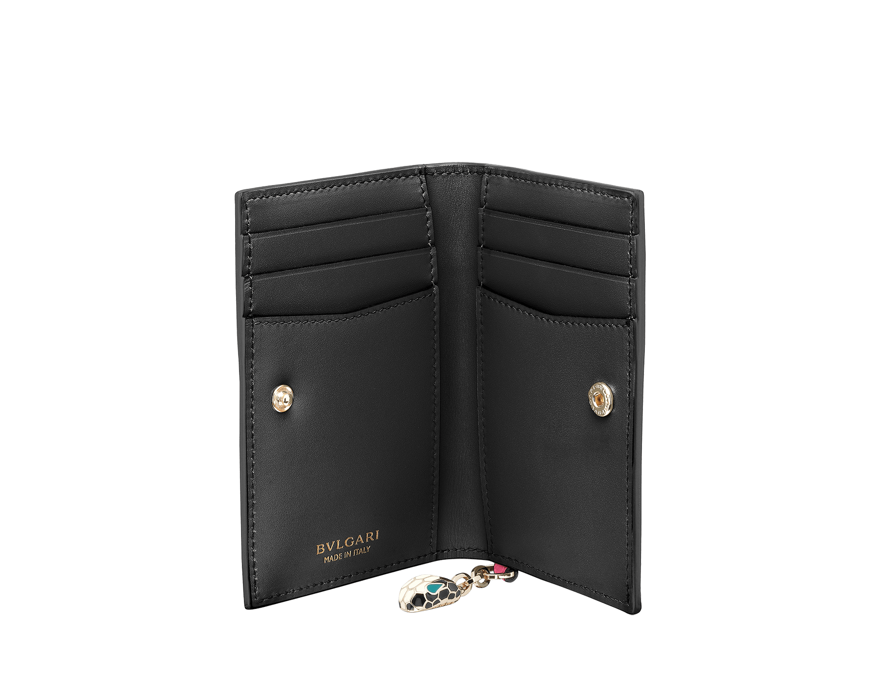 Serpenti Forever folded credit card holder in flash amethyst and black calf leather. Iconic snake head charm in black and white enamel, with green malachite enamel eyes. 288822 image 2