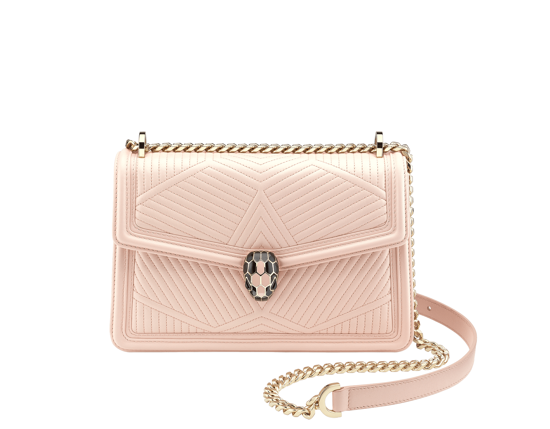 """Serpenti Diamond Blast"" shoulder bag in crystal rose quilted nappa leather body and crystal rose calf leather frames. Iconic snakehead closure in light gold plated brass enriched with black and crystal rose enamel and black onyx eyes 287331 image 2"