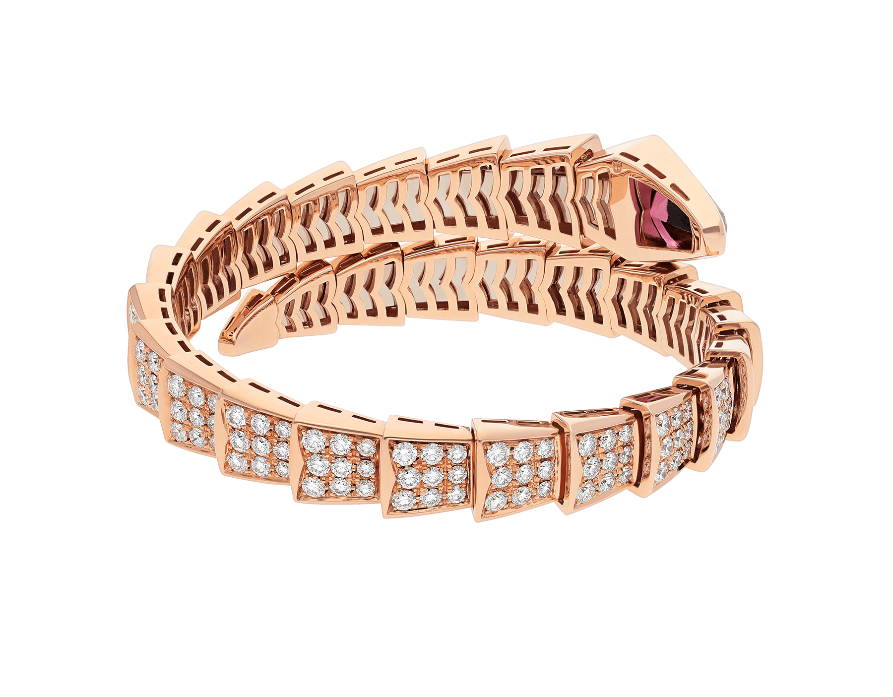Serpenti one-coil bracelet in 18 kt rose gold, set with full pavé diamonds and a rubellite on the head. BR856126 image 3