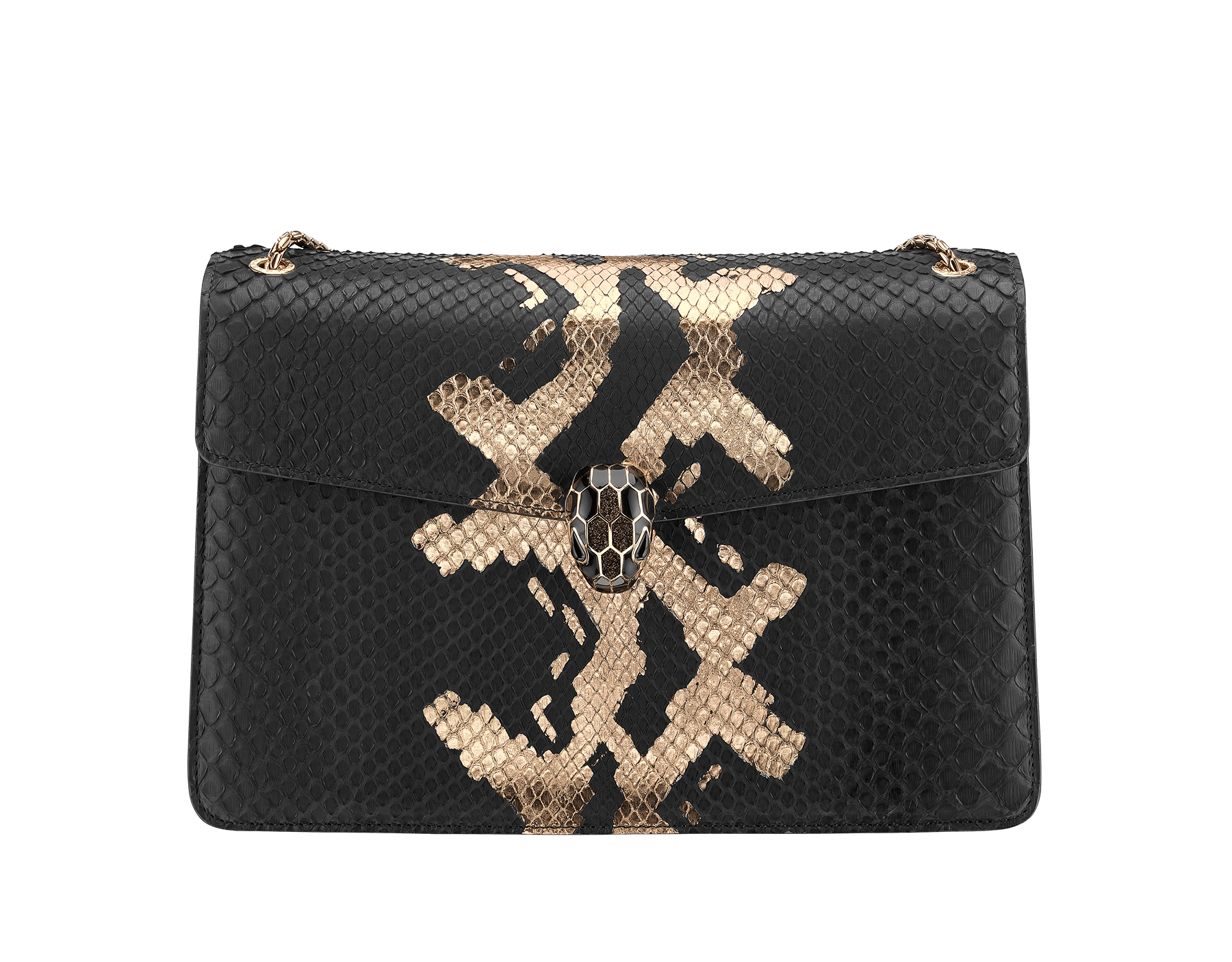 """Serpenti Forever"" shoulder bag in black and antique bronze Mottled Gold python skin. Iconic snakehead closure in light rose gold plated brass enriched with black and glitter bronze enamel and black onyx eyes 287318 image 1"