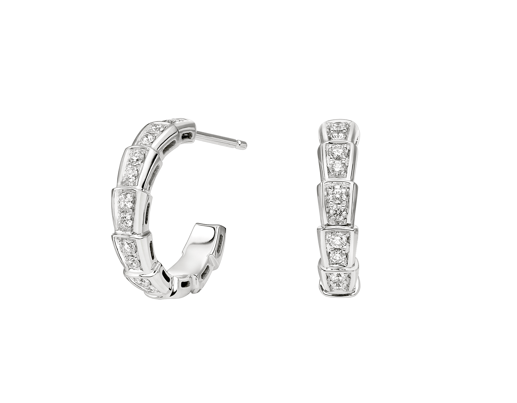 Serpenti Viper 18 kt white gold earrings set with pavé diamonds. 356172 image 1