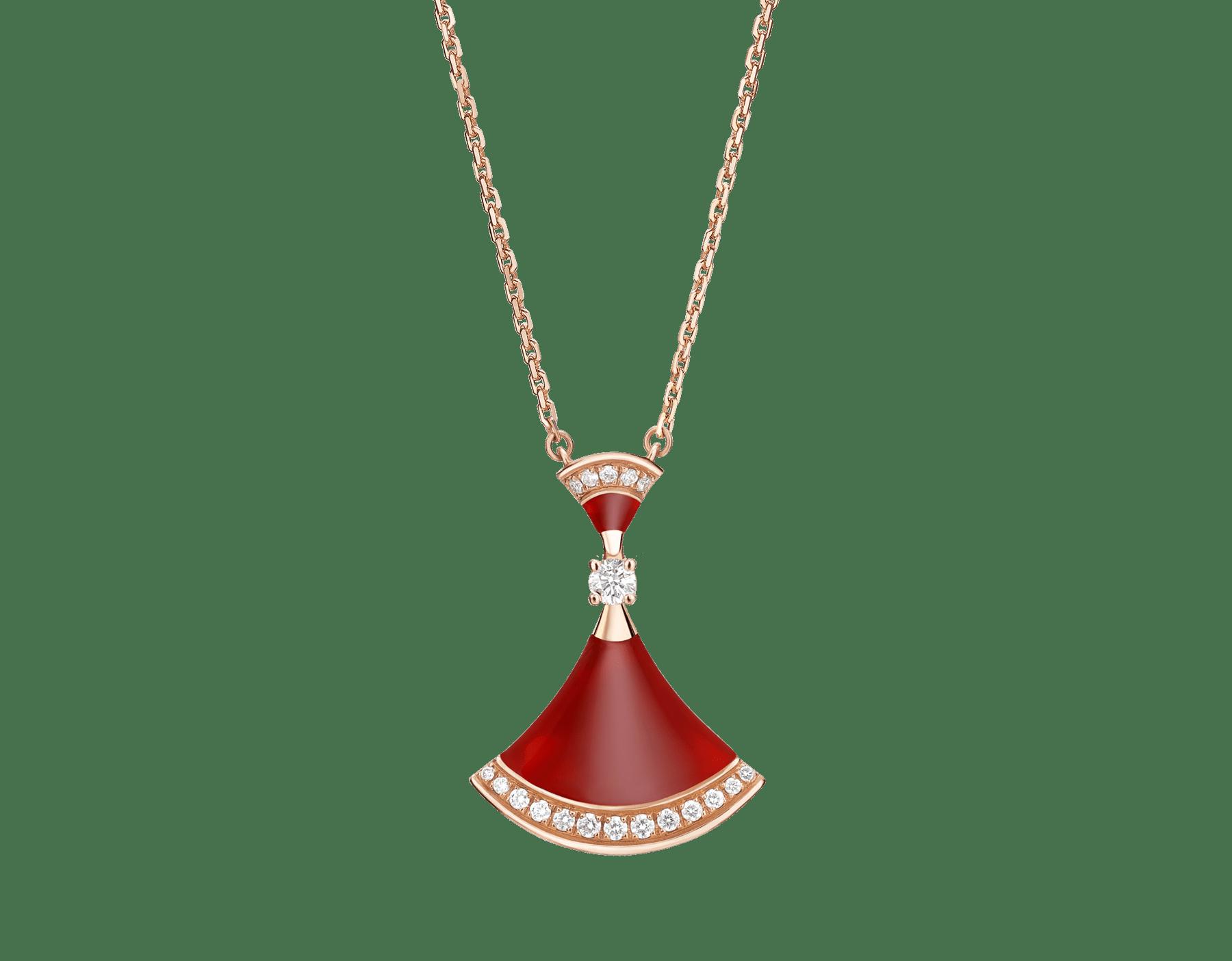DIVAS' DREAM 18 kt rose gold necklace set with carnelian elements, a round brilliant-cut diamond and pavé diamonds. 356437 image 1