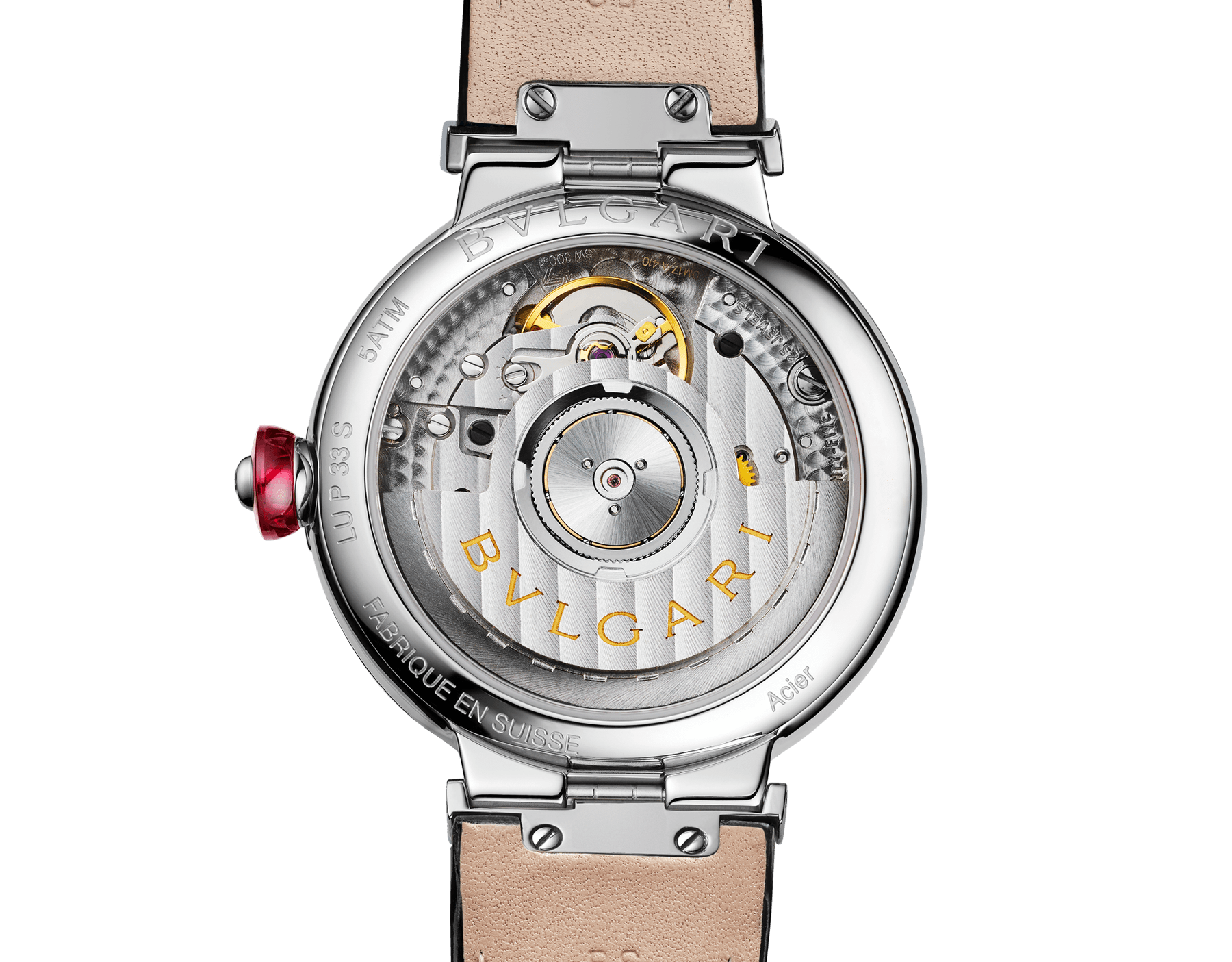 LVCEA watch with stainless steel case, white mother-of-pearl Intarsio marquetry dial, diamond indexes and black alligator bracelet 103478 image 4