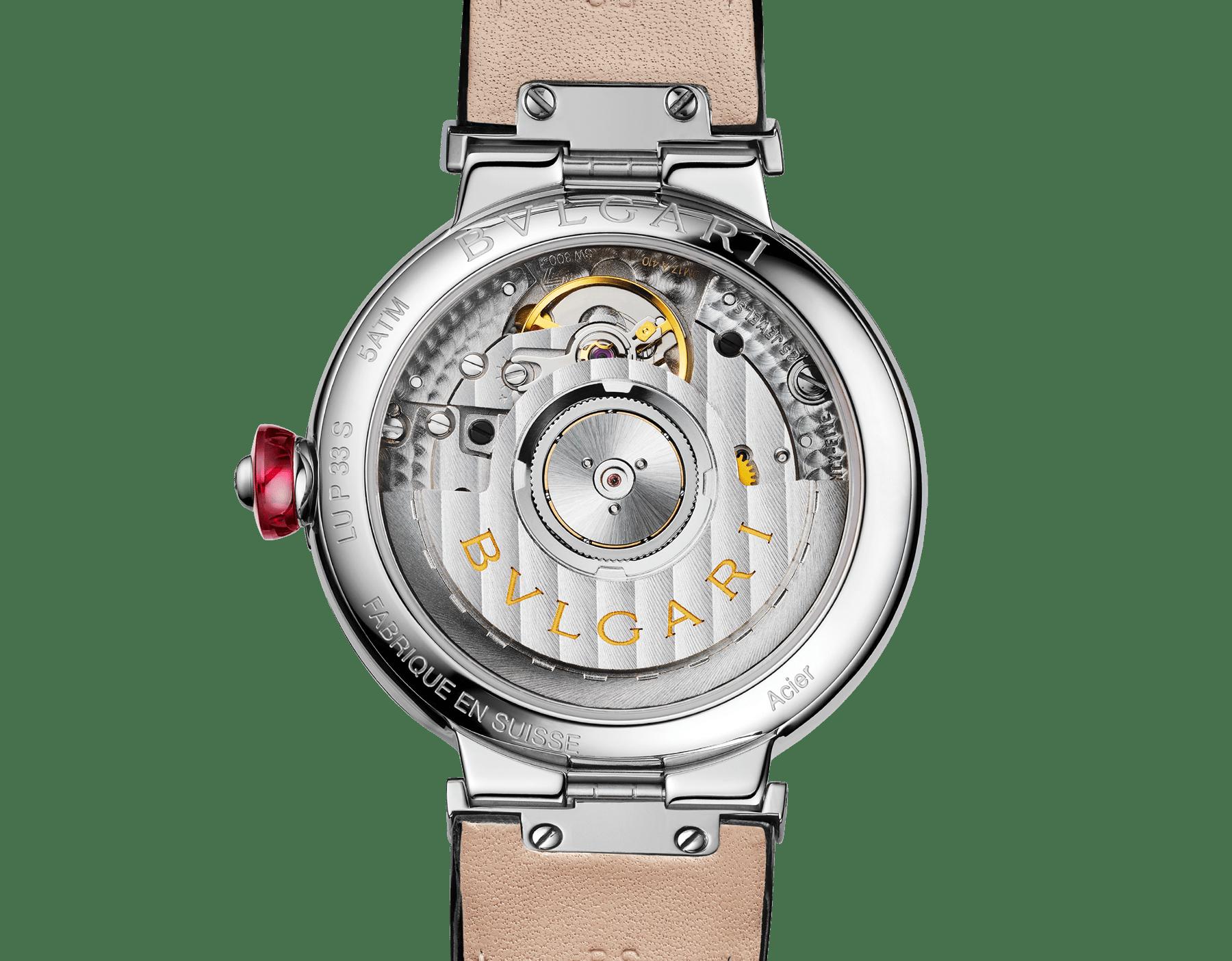 LVCEA Uhr mit Gehäuse aus Edelstahl, Zifferblatt mit weißem Perlmutt-Intarsio, Diamantindizes und schwarzem Armband aus Alligatorleder 103478 image 4