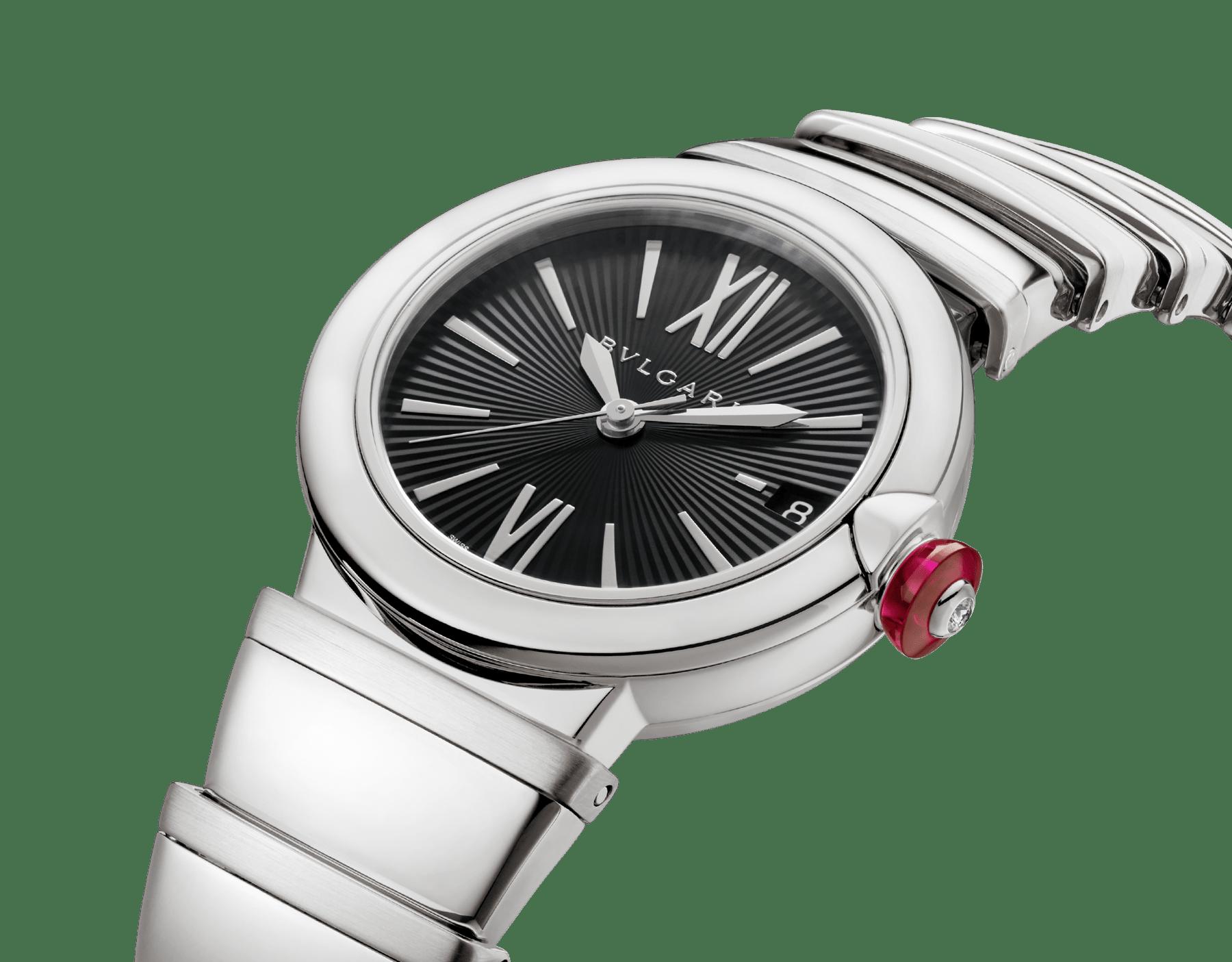 Reloj LVCEA con caja y brazalete en acero inoxidable y esfera negra. 102688 image 2