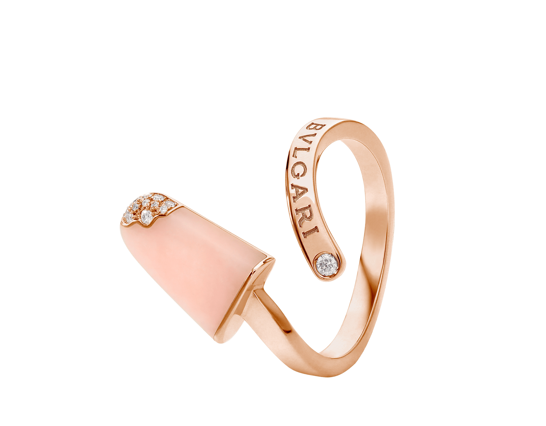 BVLGARI BVLGARI 18 kt rose gold ring set with pink opal and pavé diamonds AN858657 image 2
