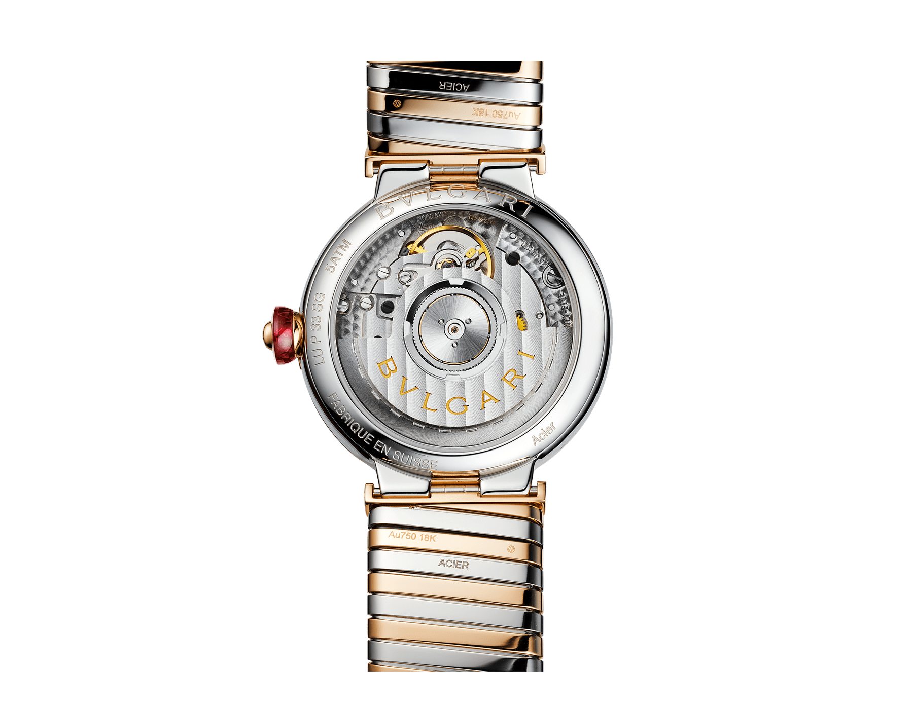 LVCEA watch with stainless steel case, 18 kt rose gold bezel, red lacquered dial, diamond indexes and tubogas bracelet in 18 kt rose gold and stainless steel 103123 image 4