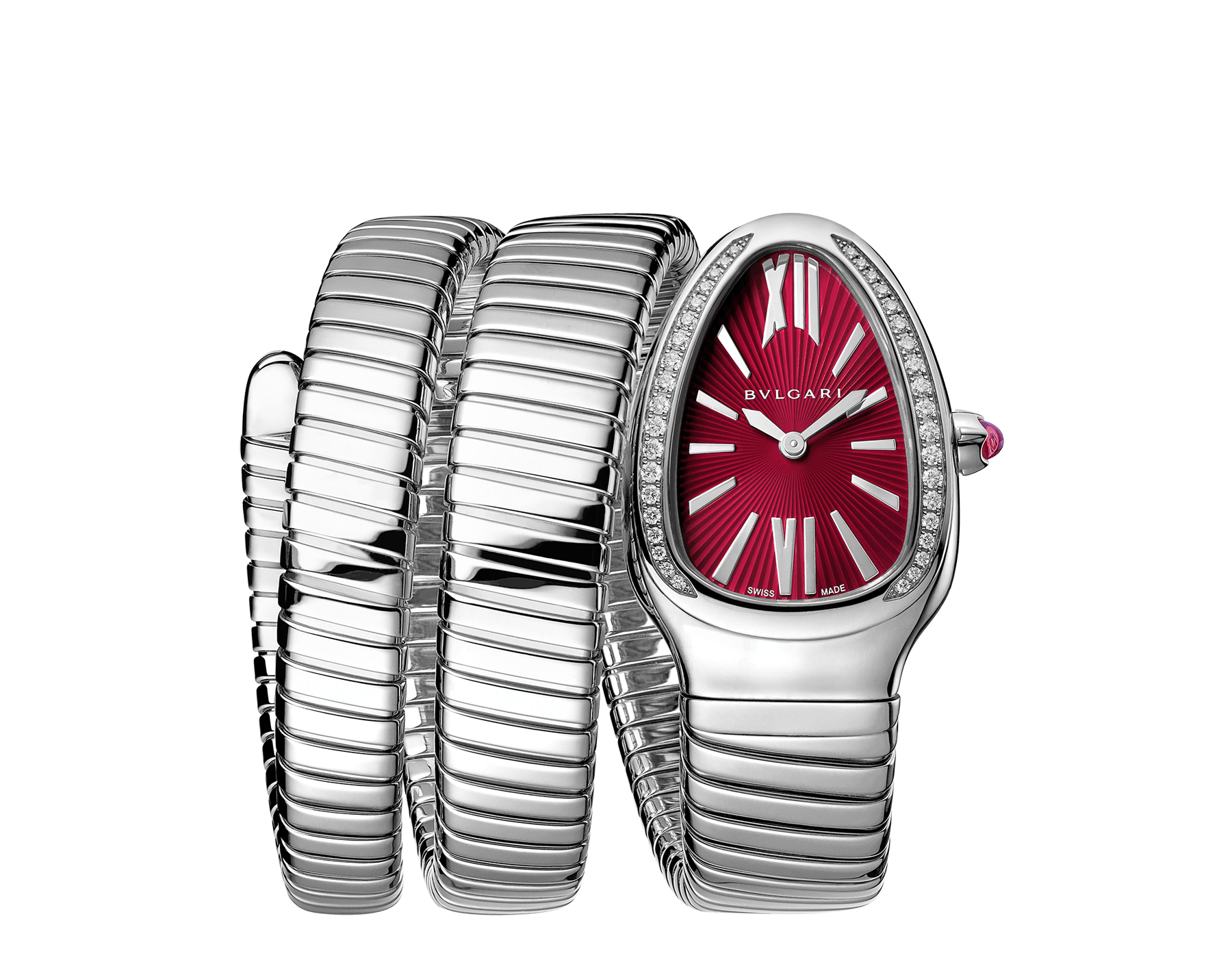 Serpenti Tubogas double spiral watch with stainless steel case set with brilliant cut diamonds, red lacquered dial and stainless steel bracelet. 102682 image 1