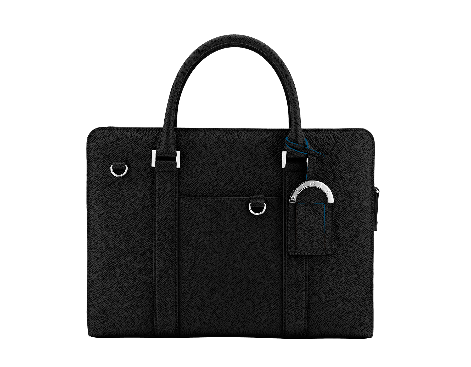Zipped briefcase in black grain calf leather with brass palladium plated hardware.Various zipped and open pockets inside, adjustable and detachable strap with shoulder protection and external open pocket. 37924 image 1
