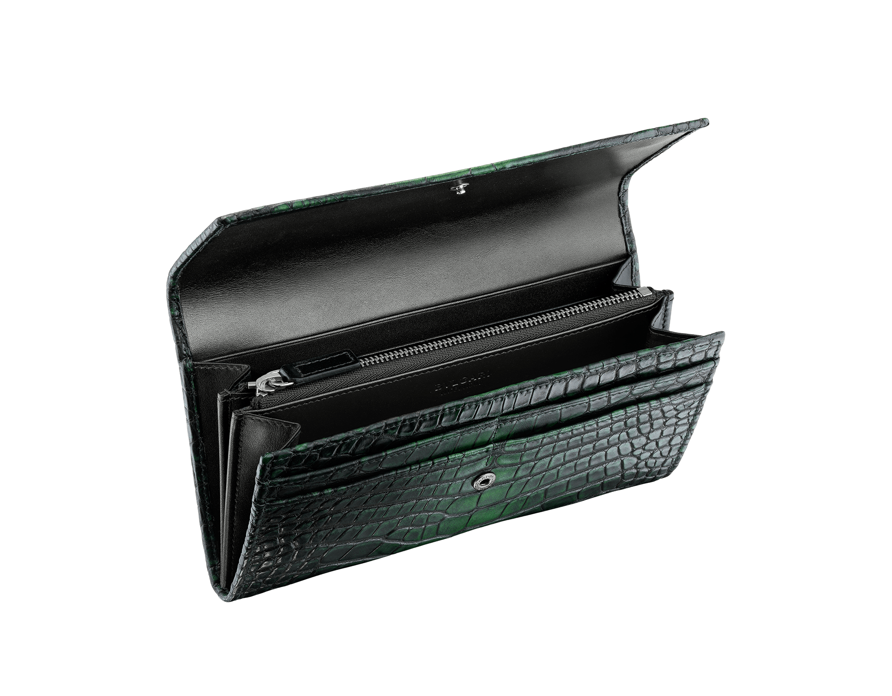 Man wallet pochette in Jungle green alligator skin and black smooth calf leather, with brass dark ruthenium plated hardware featuring the Bulgari-Bulgari motif. 38622 image 2