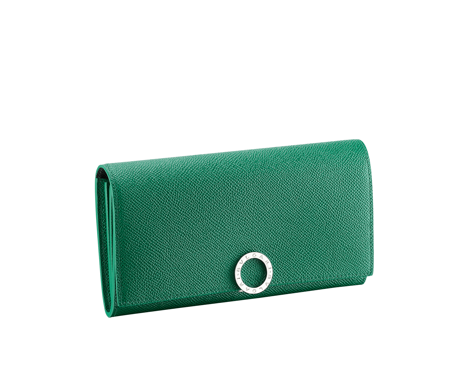 BVLGARI BVLGARI wallet pochette in emerald green and black grain calf leather. Iconic logo clip closure in palladium plated brass. 289379 image 1