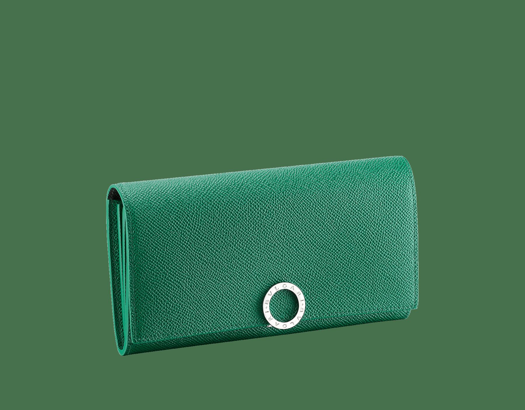 BVLGARI BVLGARI wallet pochette in emerald green and black grain calf leather. Iconic logo clip closure in palladium-plated brass. 289379 image 1