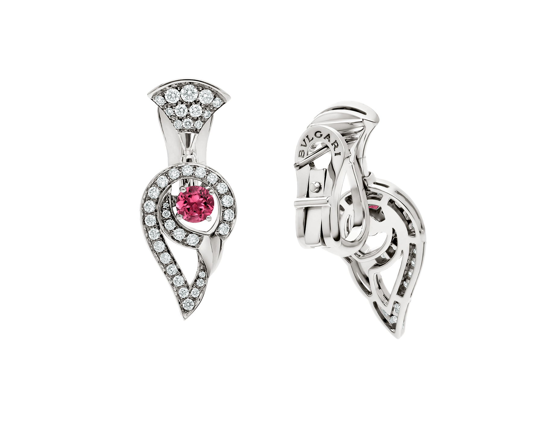 DIVAS' DREAM earrings in 18 kt white gold set with pink rubellite (0.75 ct) and pavé diamonds (1.10 ct). 354082 image 3