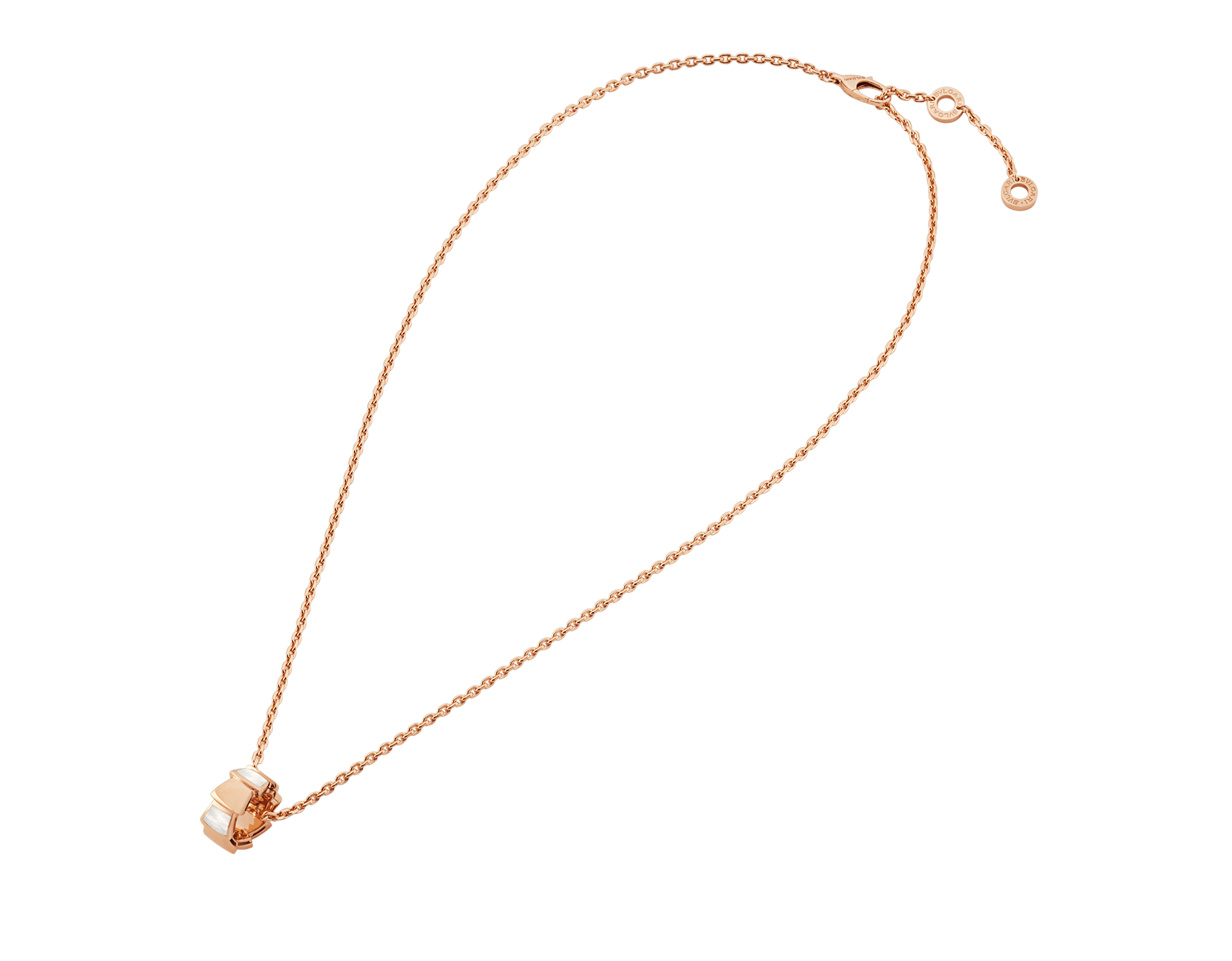 Serpenti Viper 18 kt rose gold necklace with pendant set with mother-of-pearl elements 355795 image 2