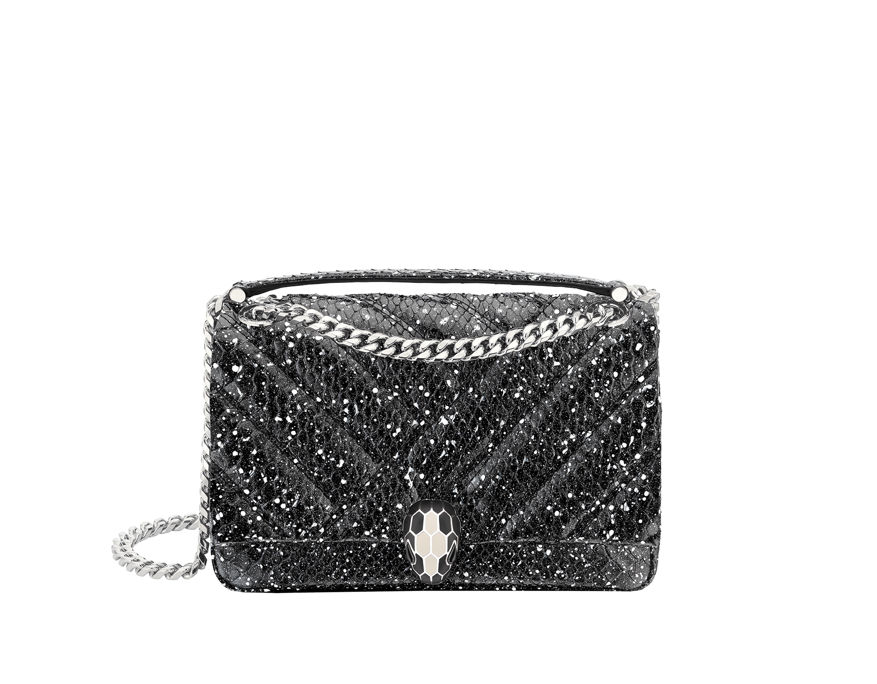 Serpenti Cabochon shoulder bag in soft matelassé black and white cosmic python skin with graphic motif. Snakehead closure in palladium plated brass decorated with matte black and white enamel, and black onyx eyes. 288621 image 1