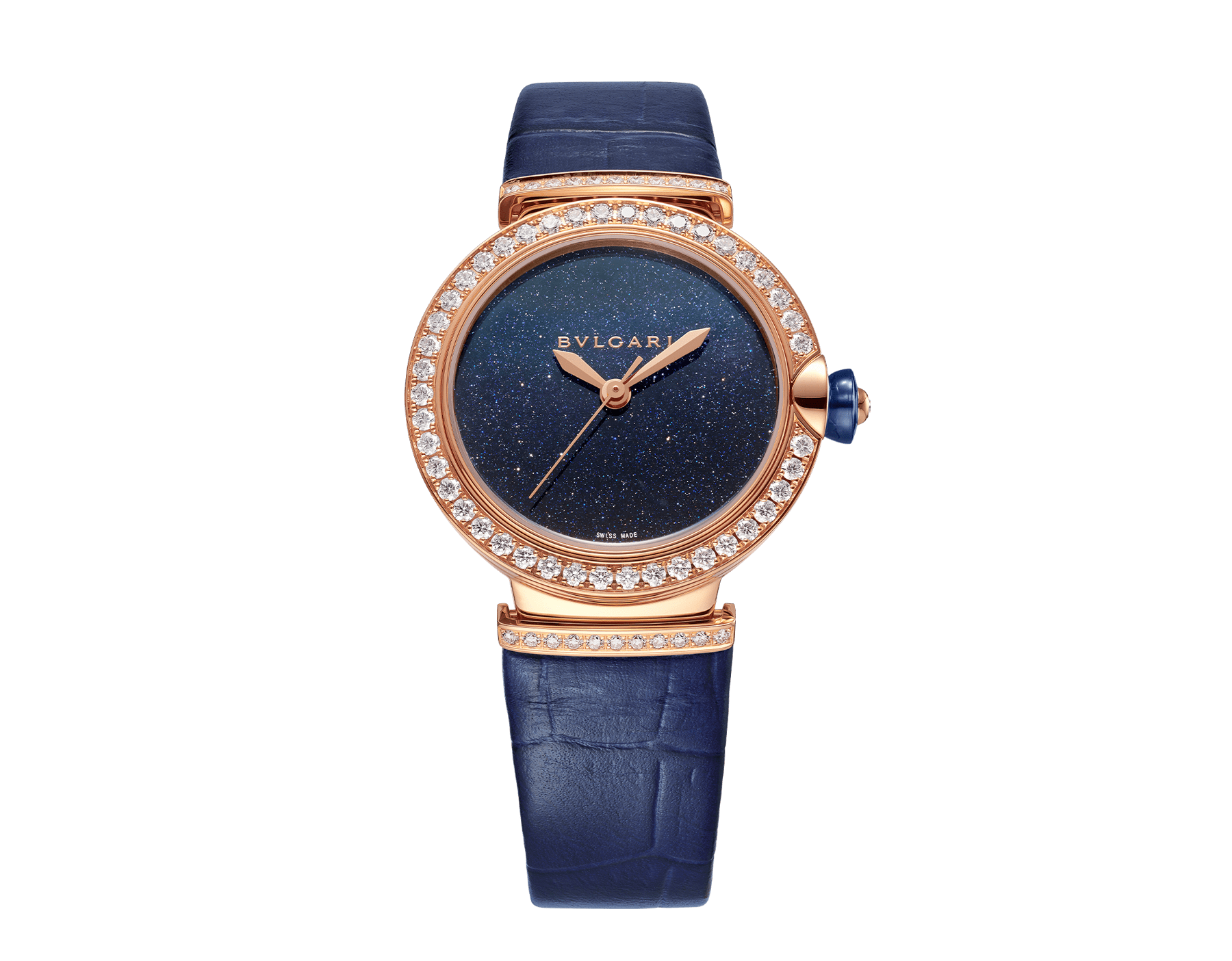 LVCEA watch with mechanical movement and automatic winding, polished 18 kt rose gold case and links both set with round brilliant-cut diamonds, blue aventurine dial and blue alligator bracelet. Water-resistant up to 30 metres. 103341 image 1
