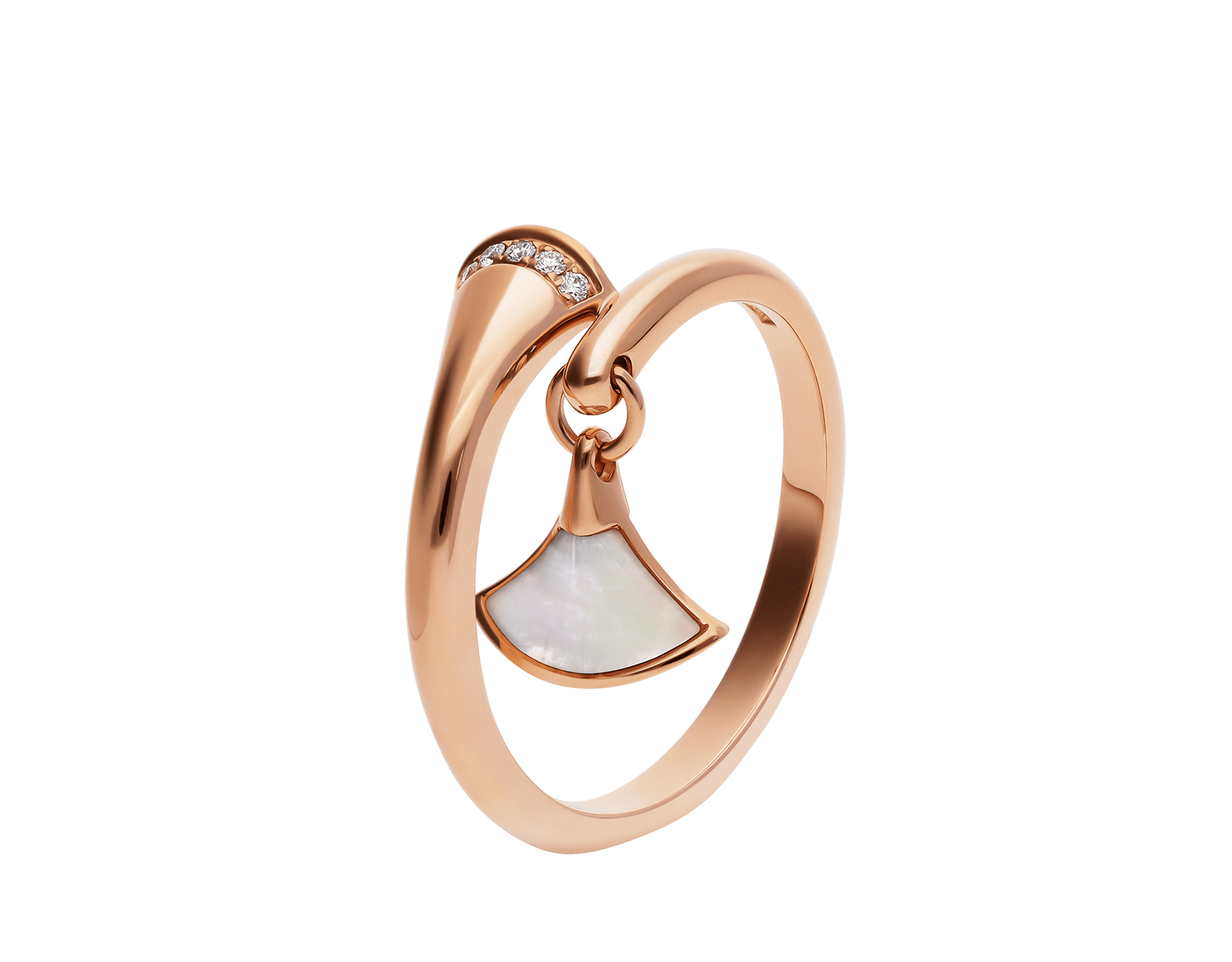 DIVAS' DREAM ring in 18 kt rose gold set with pavé diamonds and charm set with mother-of-pearl. AN857333 image 1